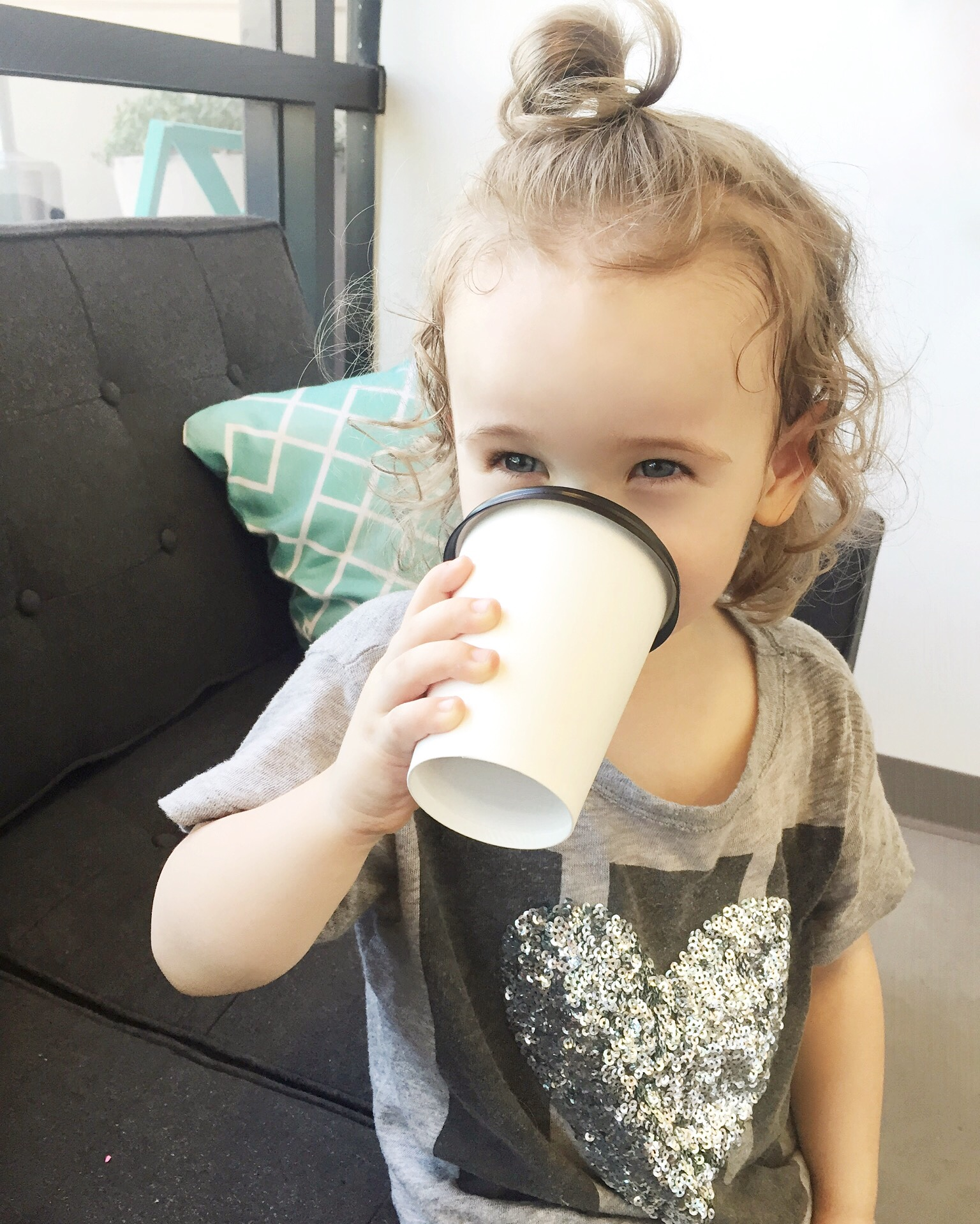 her usual: decaf coffee with almond milk. #teachthemyoung