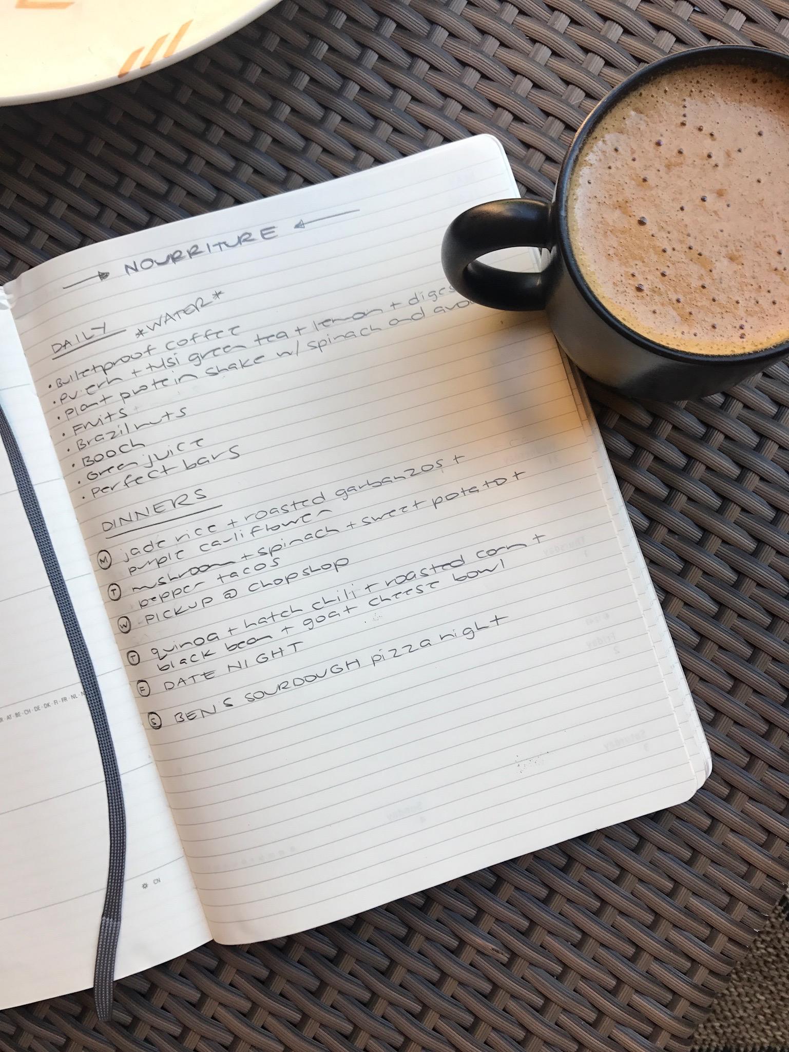 weekly menu planning scene