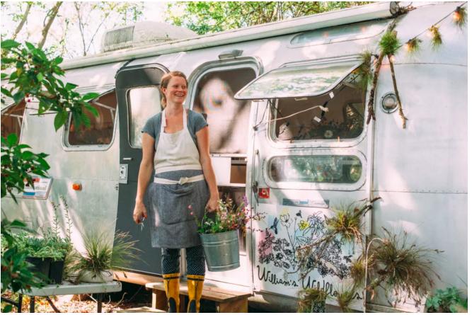 Annie Schiller and her Airstream office. Image Credit: Sarasota Magazine by Thristan Wheelock