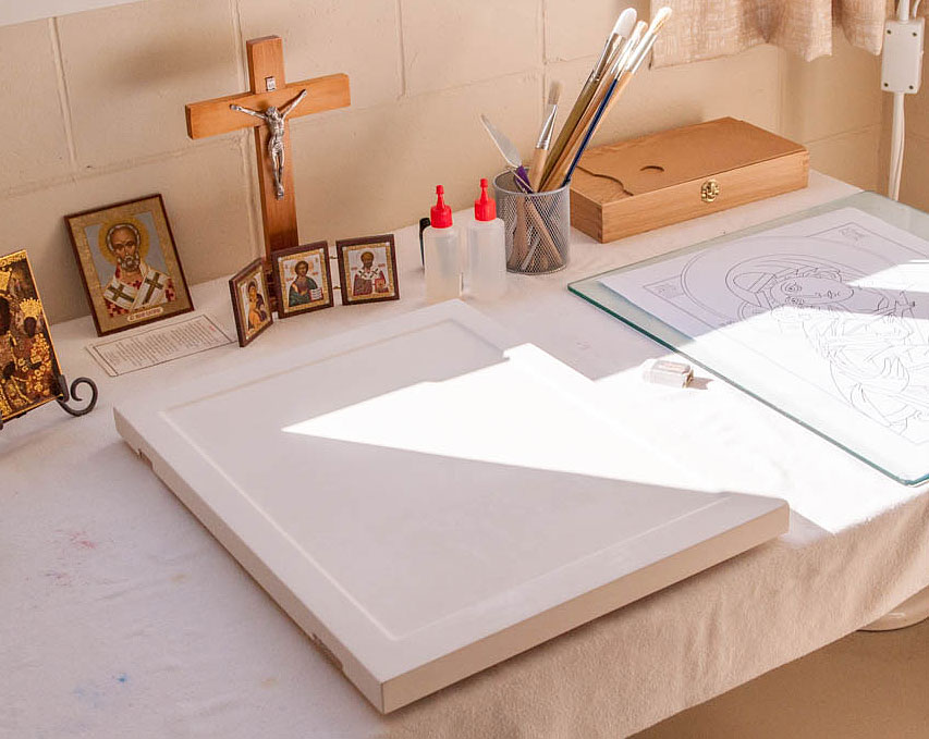 A sized and gessoed board ready to receive the holy image.