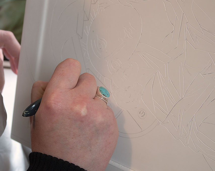 Etching over the line work.