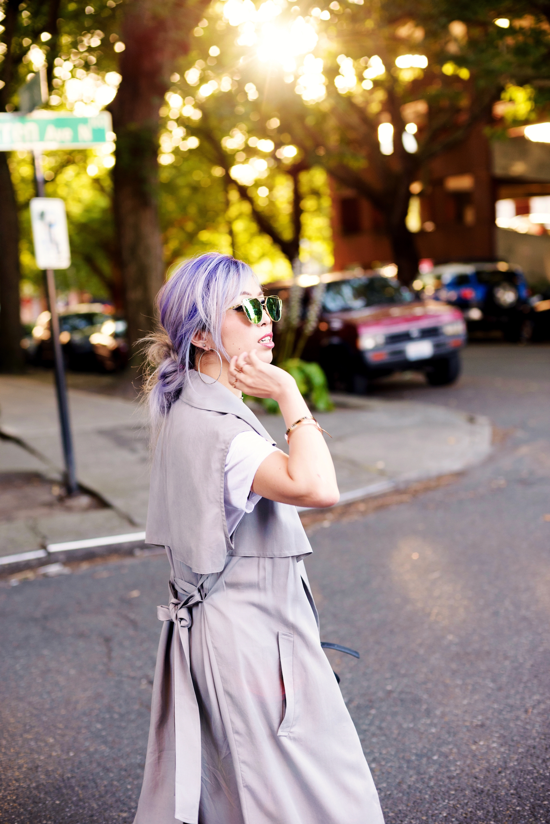 Dezzal Grey Trench Coat_TOPSHOP White T-shirt_She Inside Highwaisted Denim Mini Skit_ALDO Patent Boots_ZARA Mini Bag_Suede Choker_Daniel Wellington Watch_Aikas Love Cloeset_Seattle Fashion Blogger from Japan_Lavender Hair_Messy low bun Hair 4