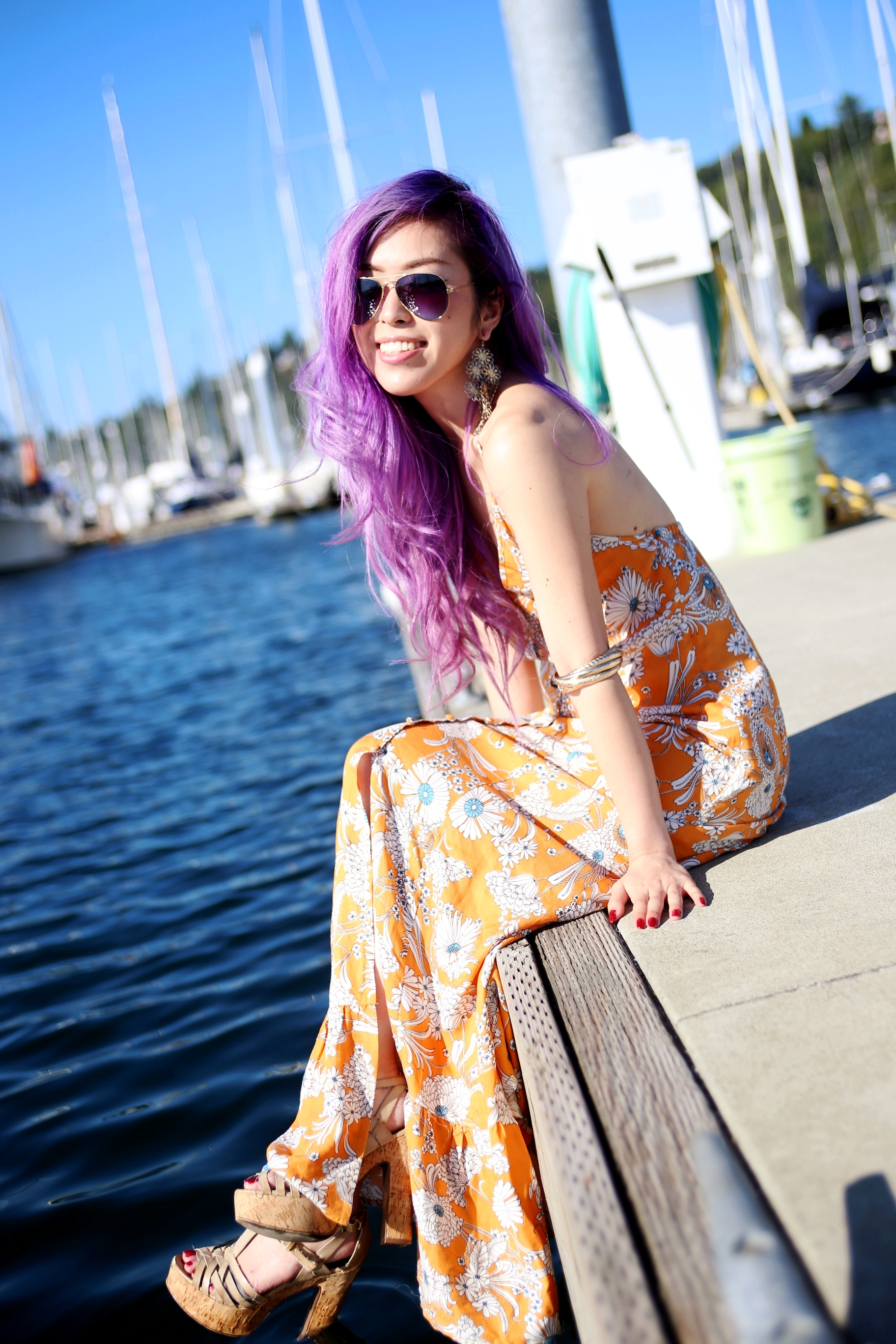 Target x Mady by MINKPINK Floral Halter Maxi Dress_H&M 4-pack bracelets_ALDO Platform Sandals_Ray Ban Blue Aviator Sunglasses_Aikas Love Closet_Seattle Fashion Blogger From Japan_Purple hair_Mermaid Hair