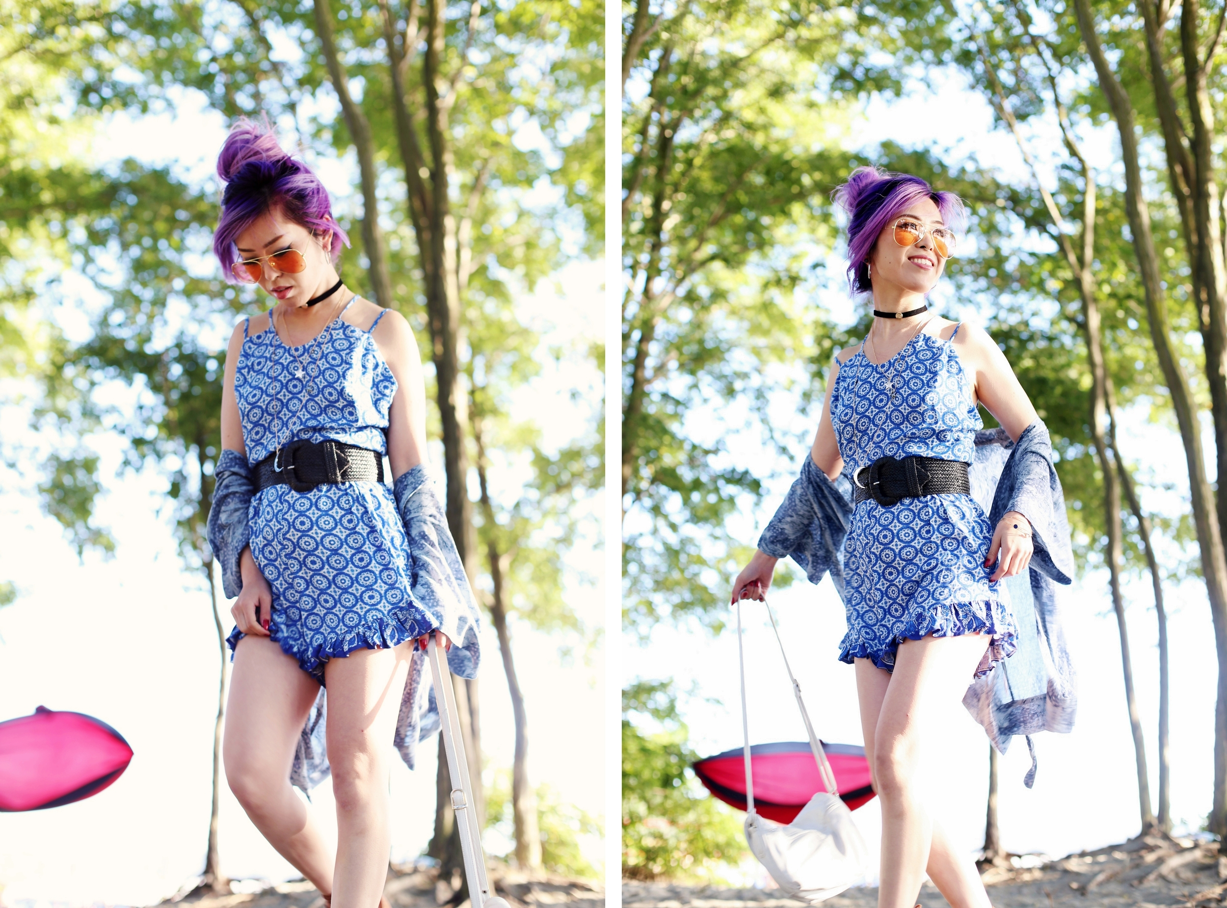 Target x Made by MINKPINK Medallion Ruffle Romper_Aritzia Kimono Cardigan_ZARA choker & necklaces_H&M Belt_Qupid booties via Charlotte Russe_Rayban Sunglasses_Aikas Love Closet_Seattle Fashion Blogger from Japan_Purple Hair