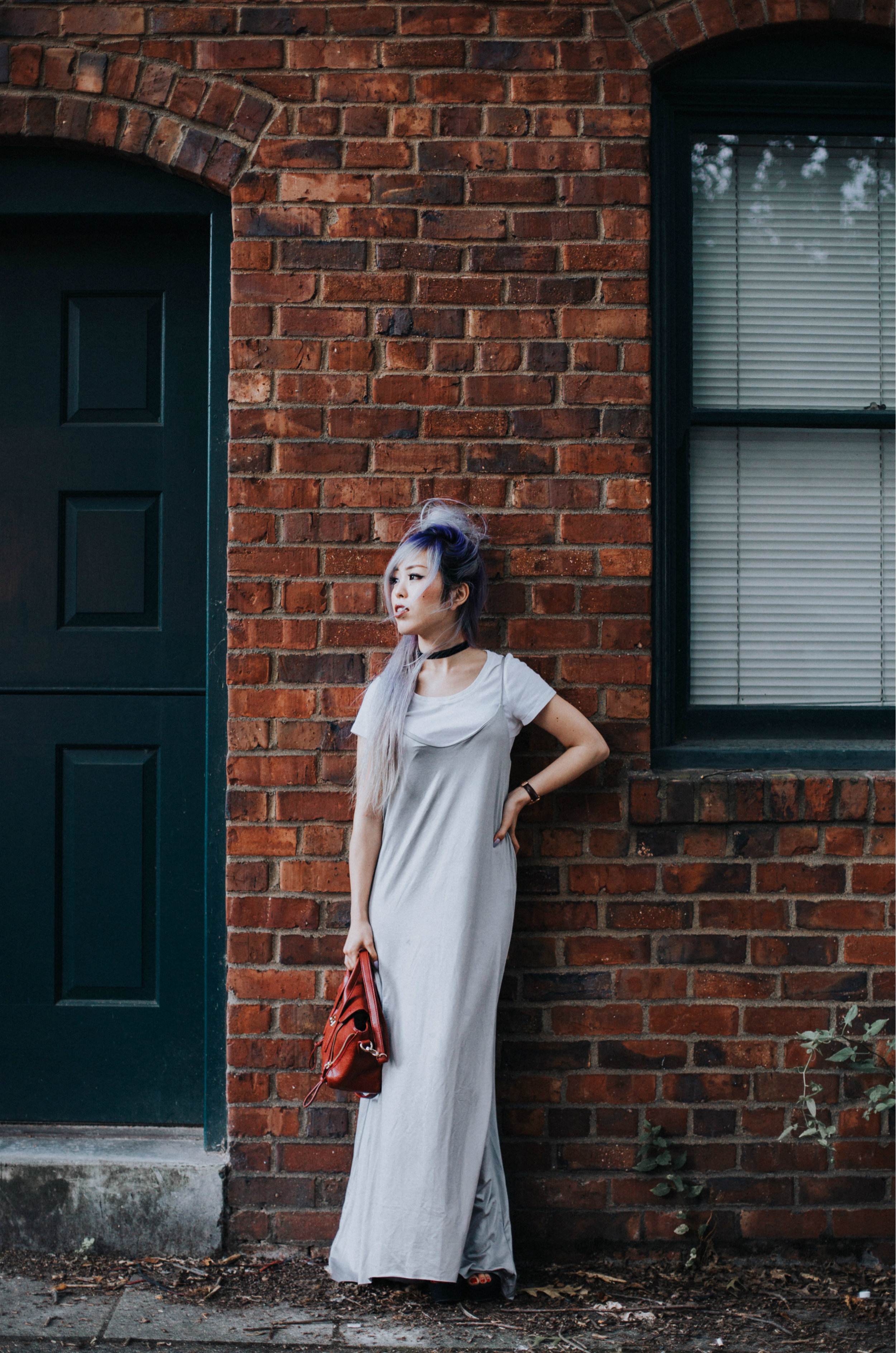 ZARA Silver Maxi Slip Dress_Missguided Black Choker_Revolve White Tee_JustFab Red Mini Bag_Topknot Hair_Mermaid Hair_Lavender Hair_Aikas Love Closet_Seattle Fashion Style Blogger from Japan