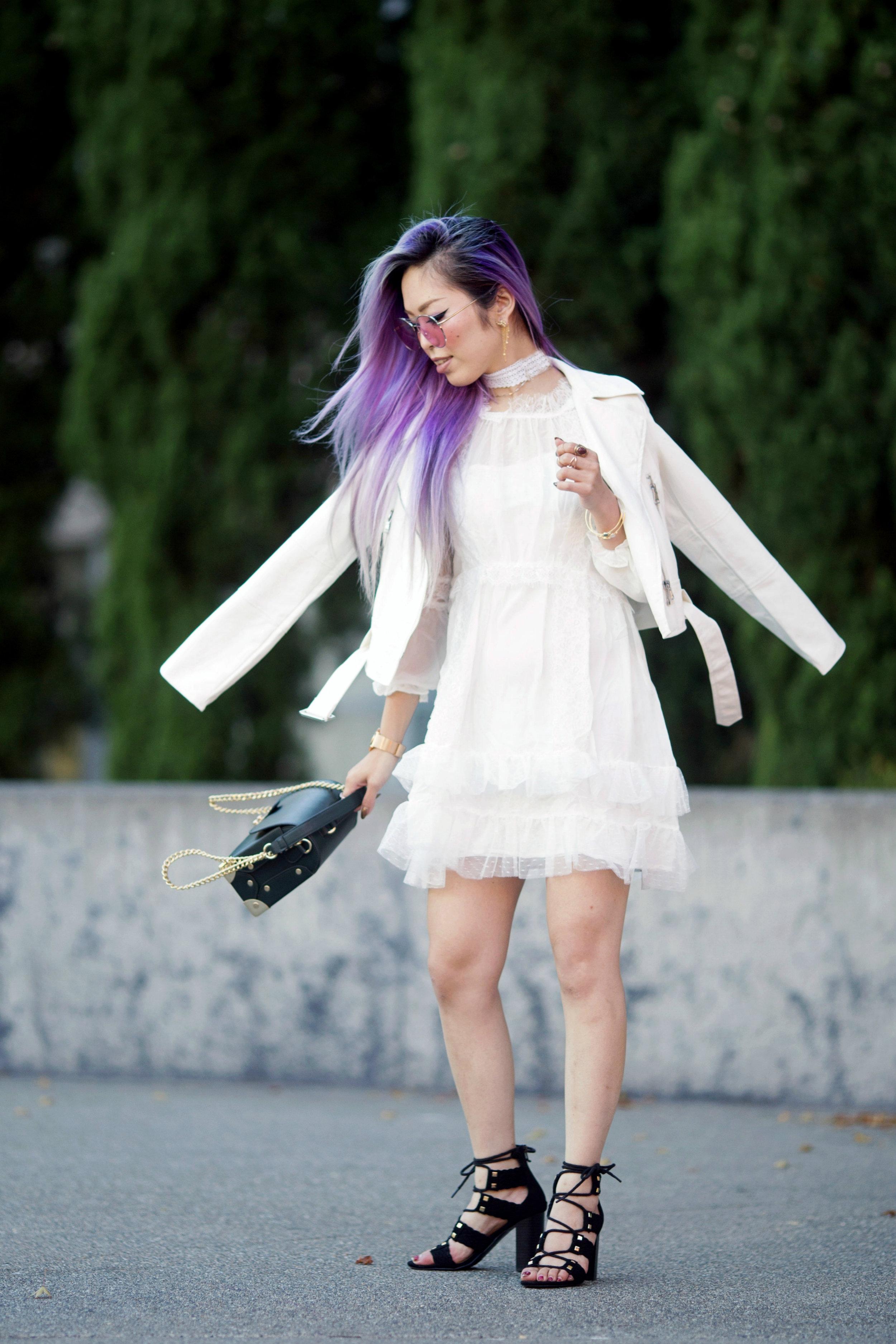 DEZZAL Letter Print White Biker Jacket & Lace Hem Layered Dress_Forever 21 Olive Bag_White Lace Choker_JustFab Lace Up Sandals_Pink Retro Sunglasses_Aikas Love Closet_Seattle Fashion Blogger from Japan_Mermaid Hair_Purple Hair
