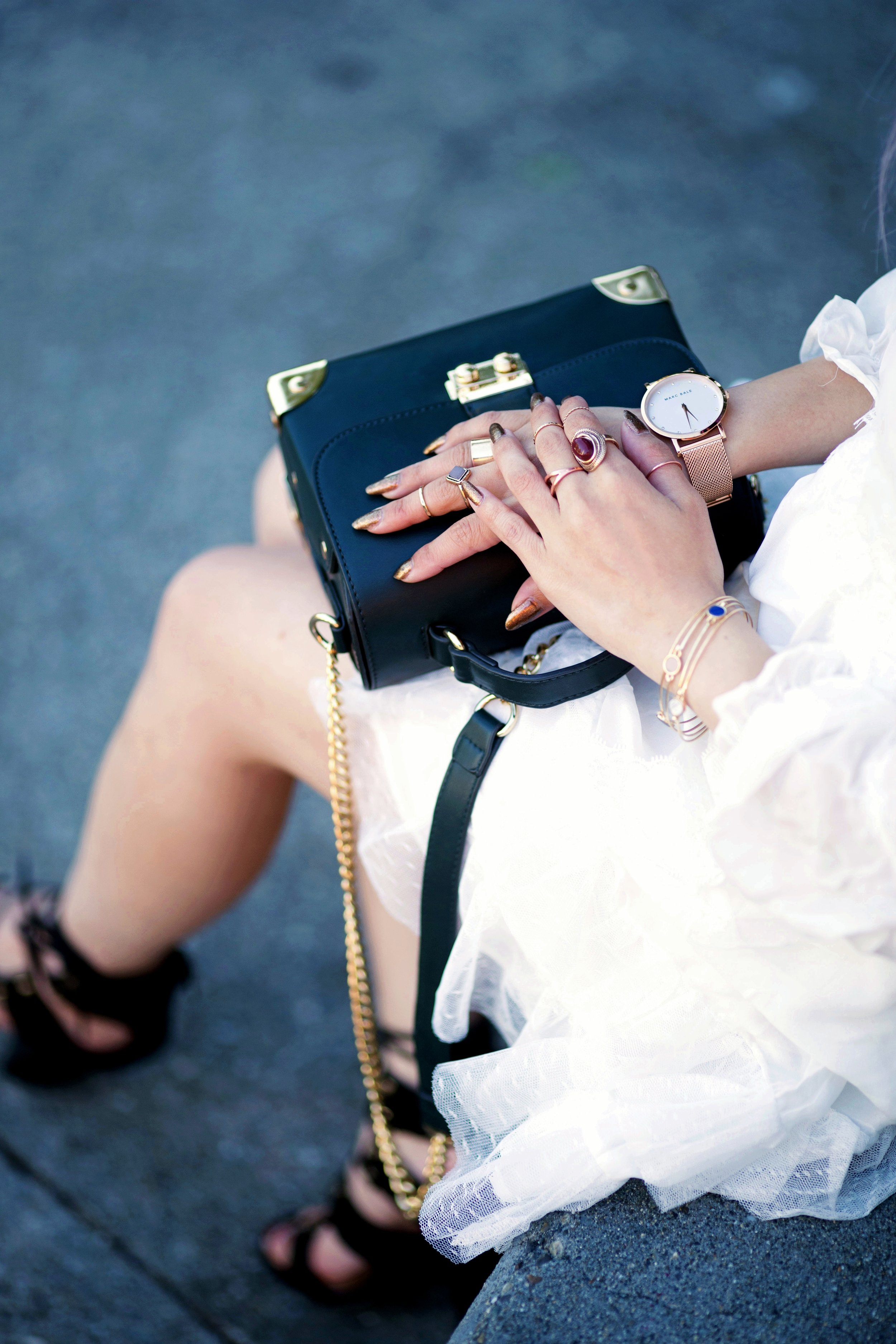 DEZZAL Letter Print White Biker Jacket & Lace Hem Layered Dress_Forever 21 Olive Bag_White Lace Choker_JustFab Lace Up Sandals_Pink Retro Sunglasses_Aikas Love Closet_Seattle Fashion Blogger from Japan_Mermaid Hair_Purple Hair_Gold Stacking Rings_Marc Bale Pink Gold Watch