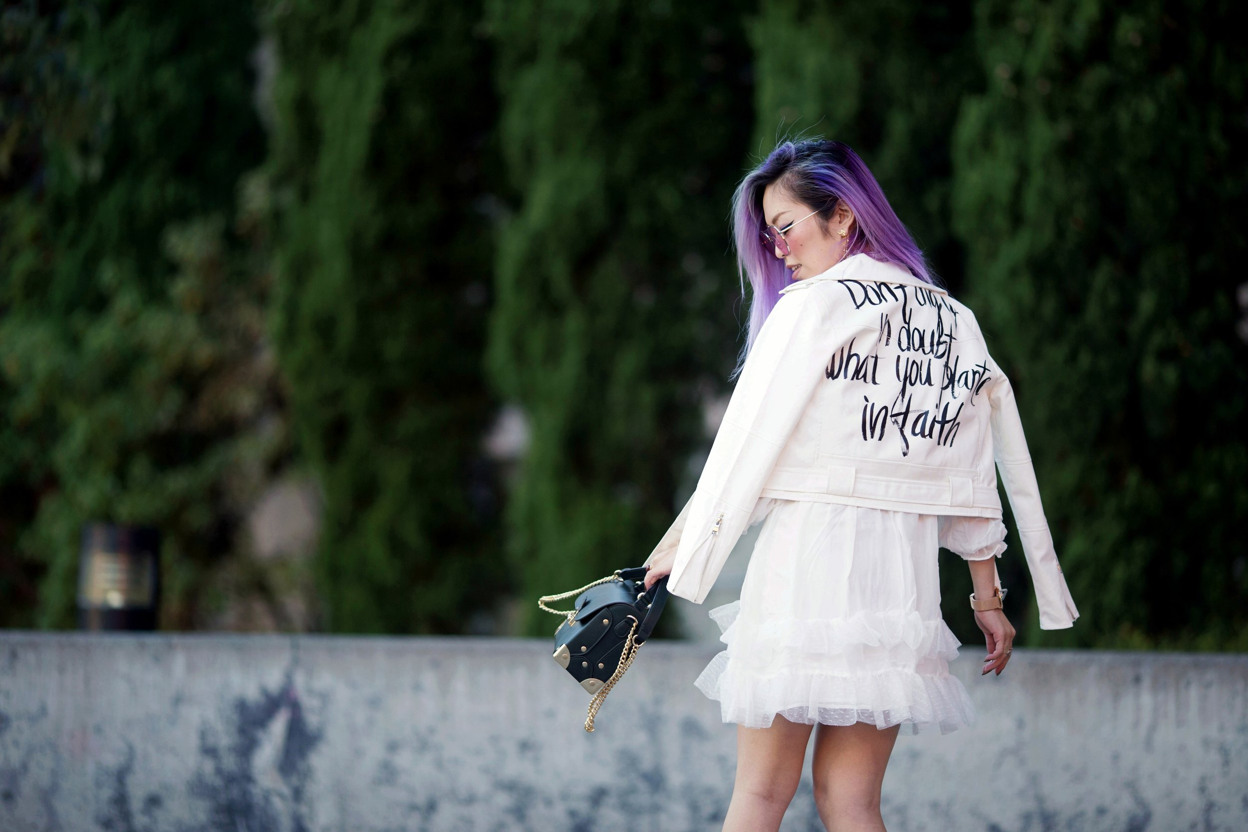 DEZZAL Letter Print White Biker Jacket & Lace Hem Layered Dress_Forever 21 Olive Bag_White Lace Choker_JustFab Lace Up Sandals_Pink Retro Sunglasses_Aikas Love Closet_Seattle Fashion Blogger from Japan_Mermaid Hair_Purple Hair_Don't dig up in double what you planted in faith