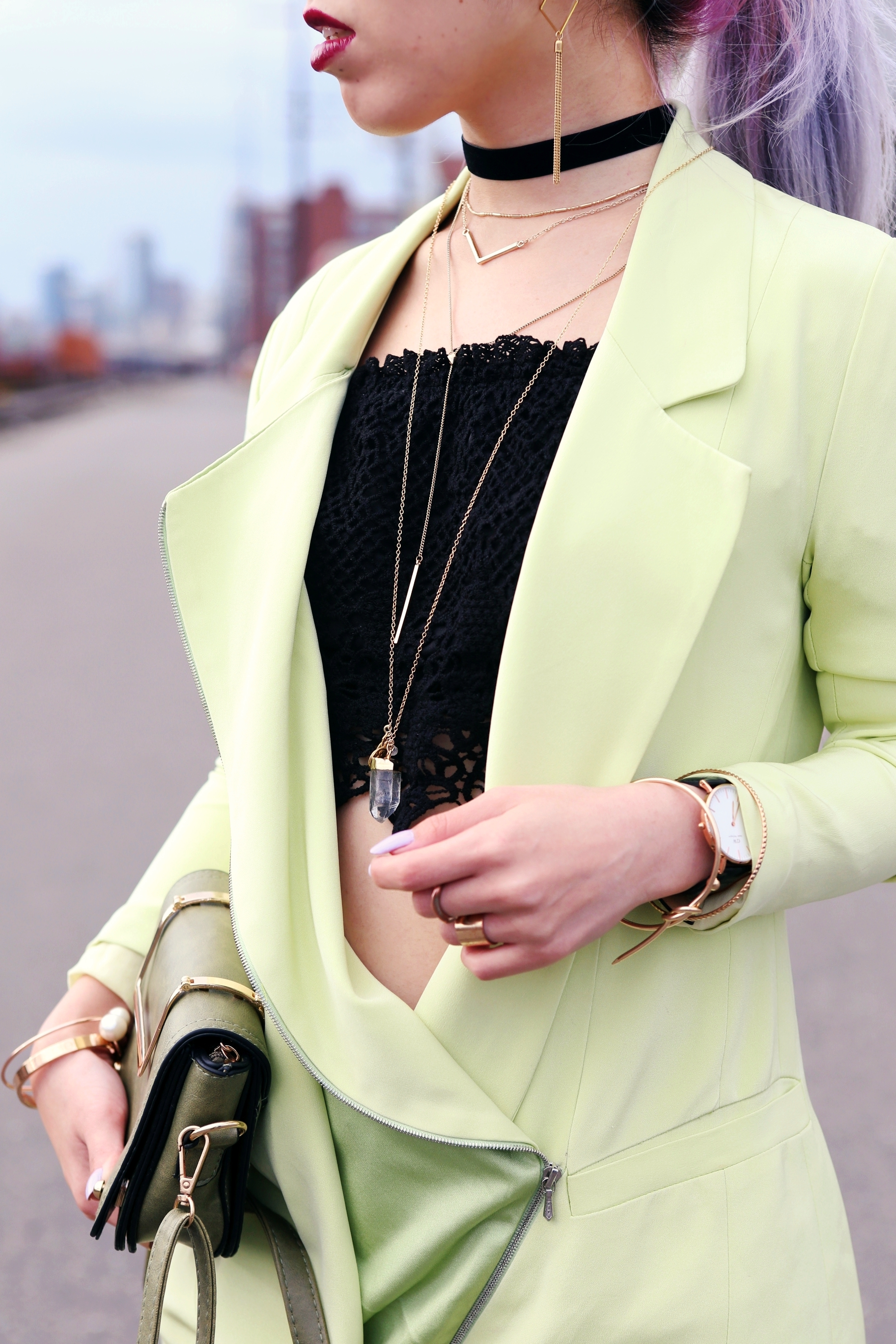 YunaYang Lime Green Jacket Dress_Charlotte Russe Off the shoulder Lace Cropped top_Nastygal Velvet Choker_Emmy Trinh Wish Necklace_Forever 21 Layered Necklace_Daniel Wellington Watch_Romwe Khaki Minibag_Aikas Love Closet_Seattle Fashion Blogger_Japanese Fashion_Mermaid Hair_Lavender Hair