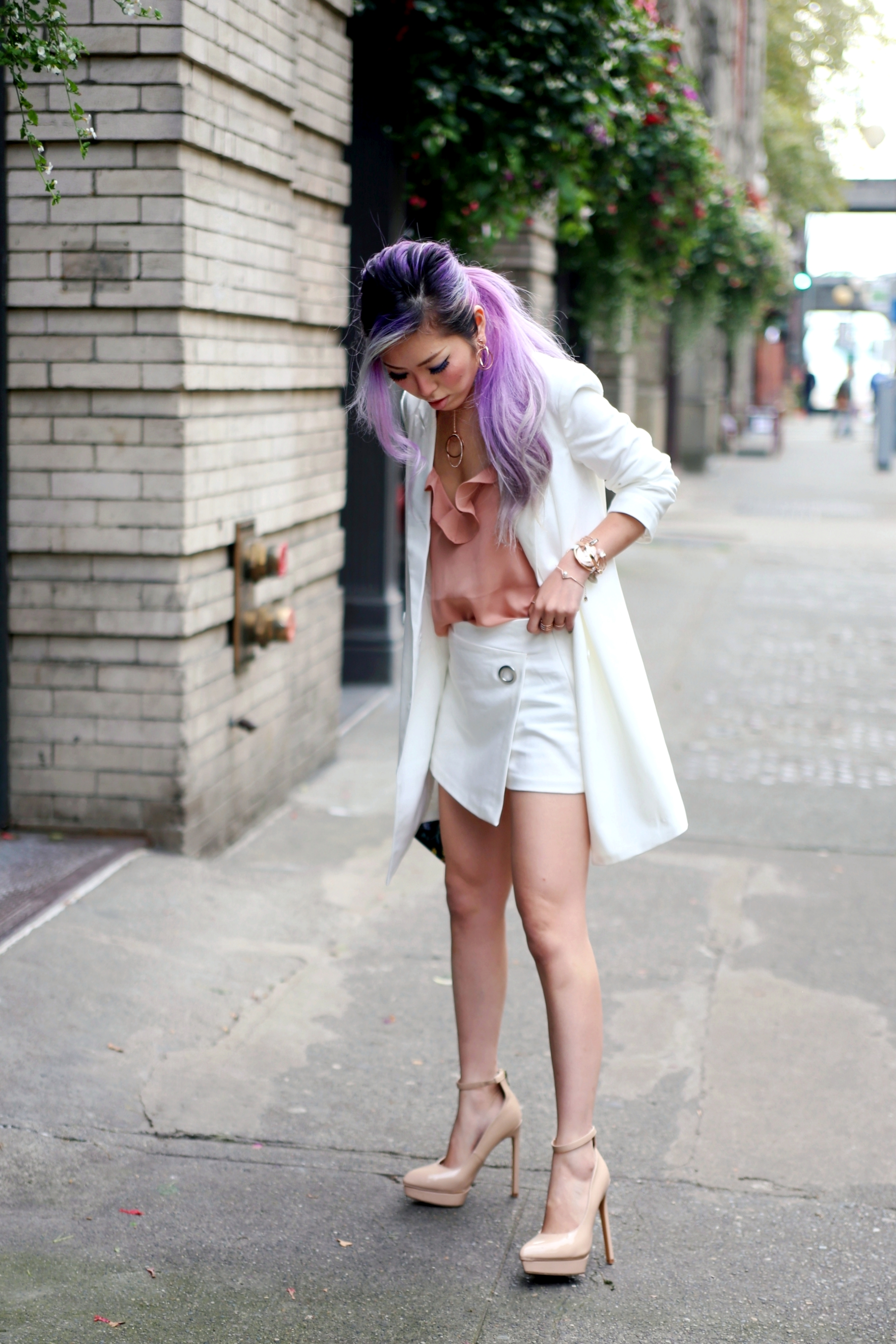 Swarovski Crystaldust Bangle Double White, Forever 21 Mini Blazer Dress & Chiffon Cami_Zara White CROSSOVER CULOTTES_Alice + Olivia Printed Leather Clutch_Shoedazzle Nude Pumps_Swarovski Flash Necklace & Flashed Pierced Earrings & Crystalline Oval White Tone Watch_Aikas Love Closet_Seattle Fashion Blogger_Japan_Lavender hair_Purple hair