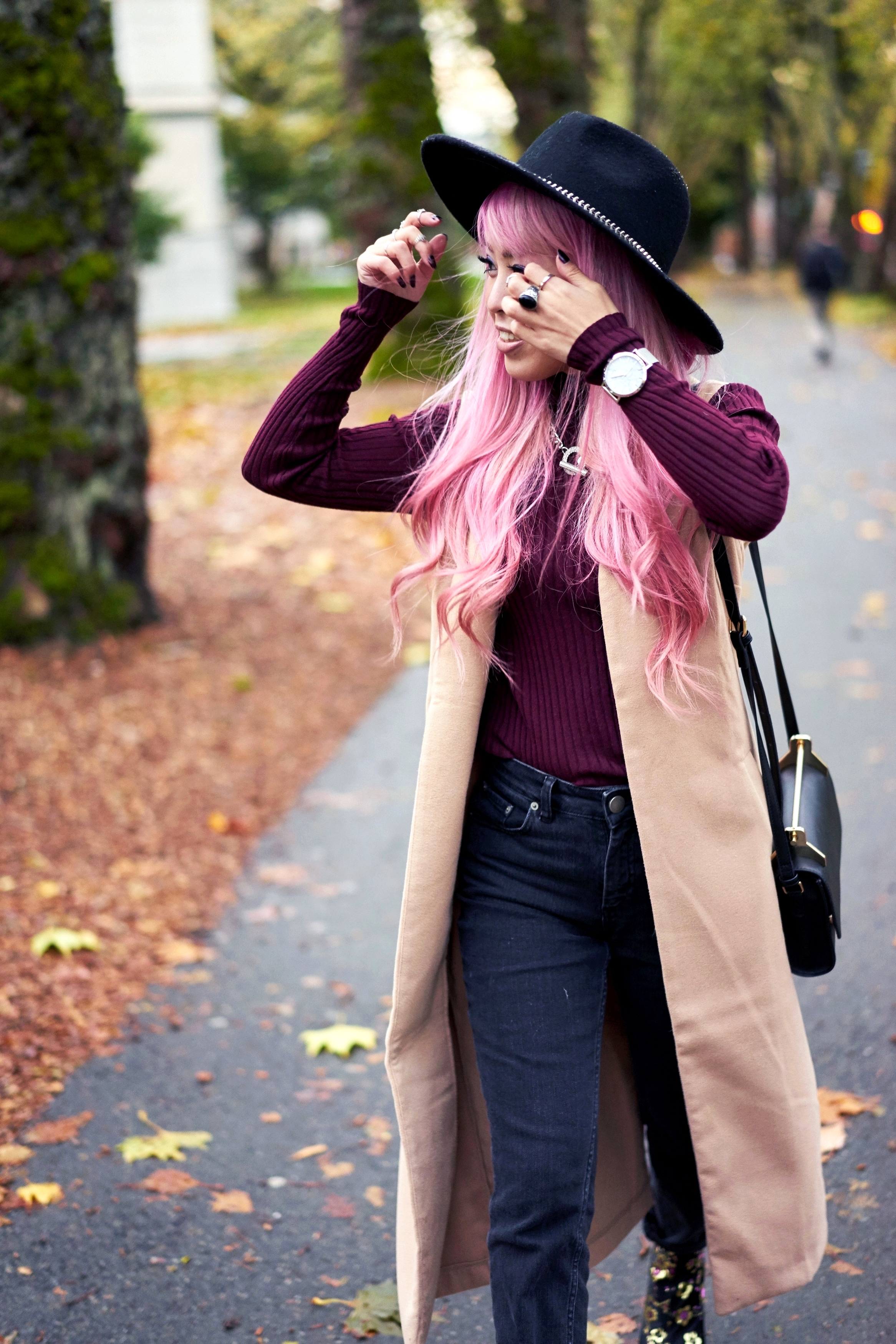 Forever 21 Fedora_Who What Wear : Target Rib Turtleneck_ASOS High Waist Mom Jeans_Ego Floral Print Ankle Boots_Christian Paul Marble Watch_Aika's Love Closet_Seattle Fashion Blogger_Japanese_Pink Hair 2