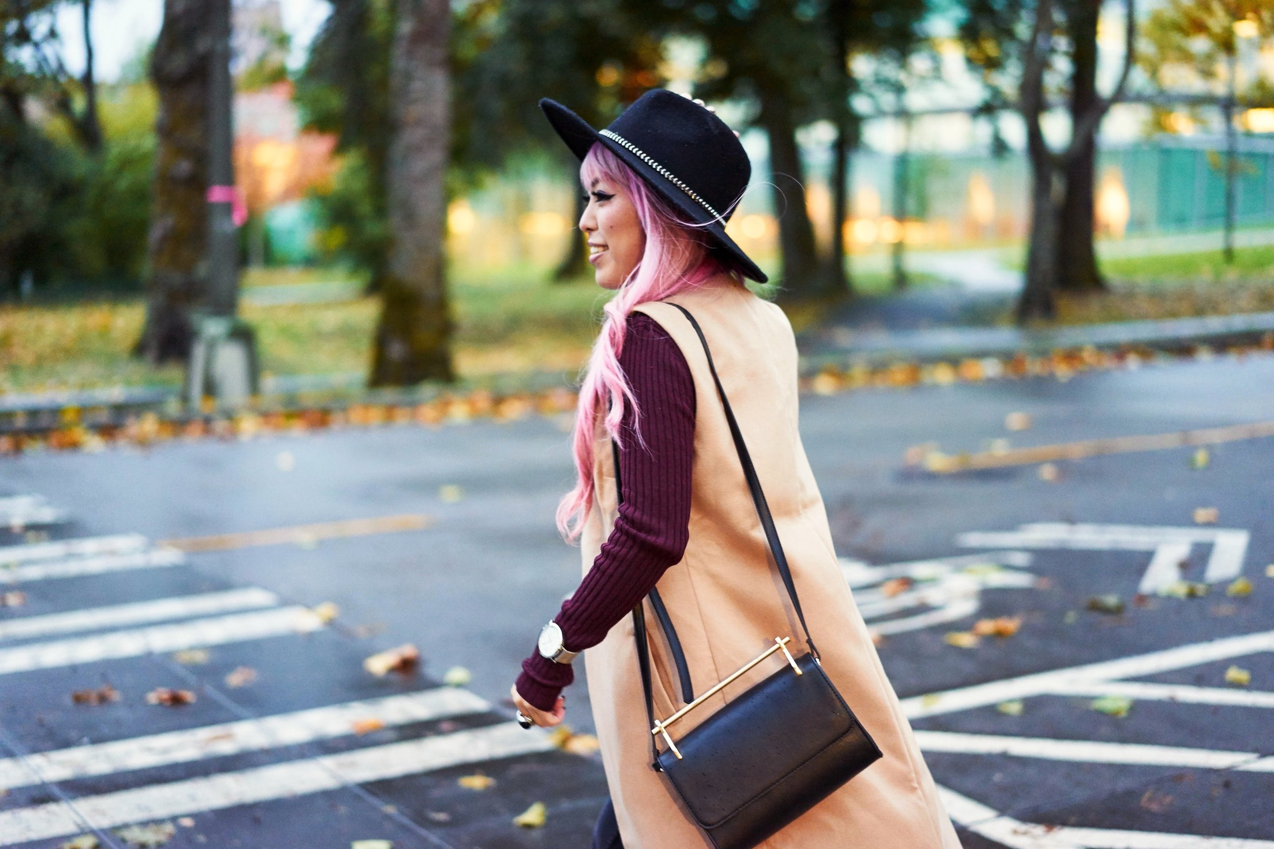 Forever 21 Fedora_Who What Wear : Target Rib Turtleneck_ASOS High Waist Mom Jeans_Ego Floral Print Ankle Boots_Christian Paul Marble Watch_Aika's Love Closet_Seattle Fashion Blogger_Japanese_Pink Hair 8