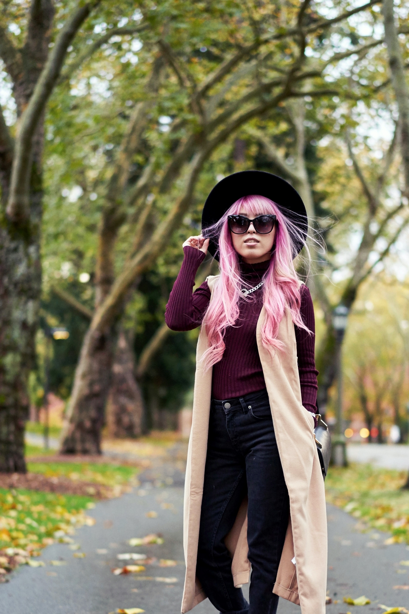 Forever 21 Fedora_Who What Wear : Target Rib Turtleneck_ASOS High Waist Mom Jeans_Ego Floral Print Ankle Boots_Christian Paul Marble Watch_Aika's Love Closet_Seattle Fashion Blogger_Japanese_Pink Hair 9