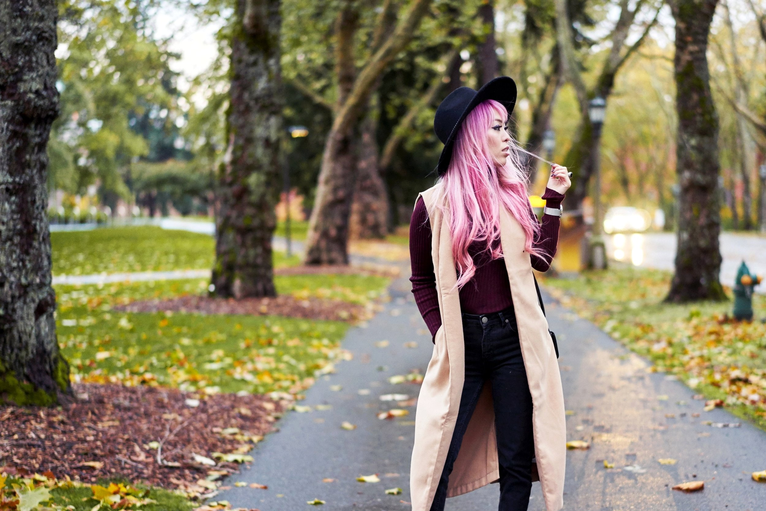 Forever 21 Fedora_Who What Wear : Target Rib Turtleneck_ASOS High Waist Mom Jeans_Ego Floral Print Ankle Boots_Christian Paul Marble Watch_Aika's Love Closet_Seattle Fashion Blogger_Japanese_Pink Hair 13