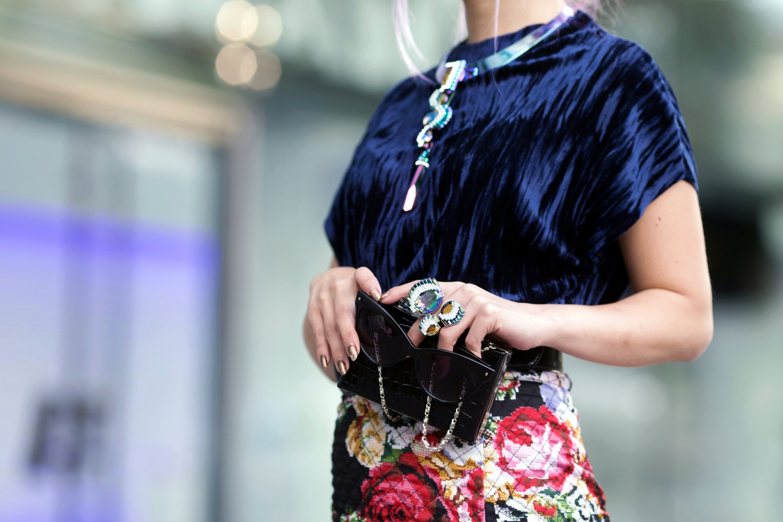 Swarovski Fluorescent Necklace & Fluorescent Ring_Aika's Love Closet_Seattle Fashion Blogger_Japanese_Lavender Hair_Mermaid Hair