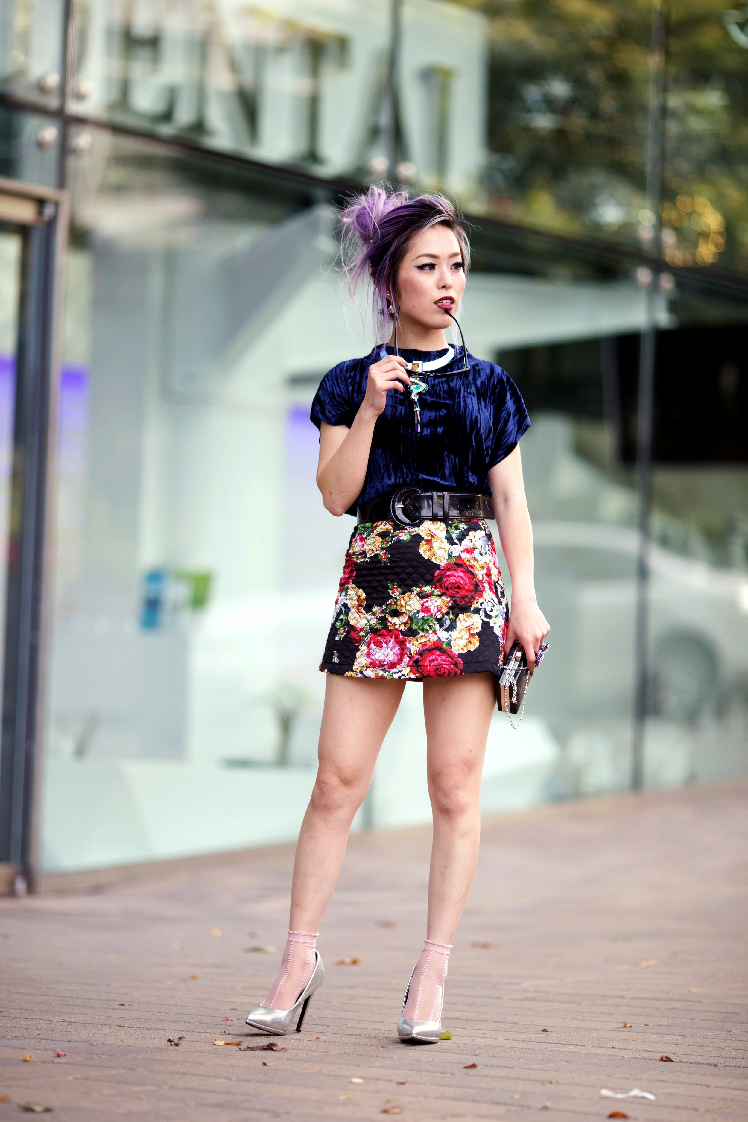 ZARA Blue Velvet Top_Forever 21 Floral Print Mini Skirt_Mango Patent Belt_Kate Spade Sheer Ankle Socks_Qupid Silver Pumps_Aldo Cateye Sunglasses_Swarovski Fluorescent Necklace & Fluorescent Ring_Aika's Love Closet_Seattle Fashion Blogger_Japanese_Lavender Hair_Mermaid Hair 6