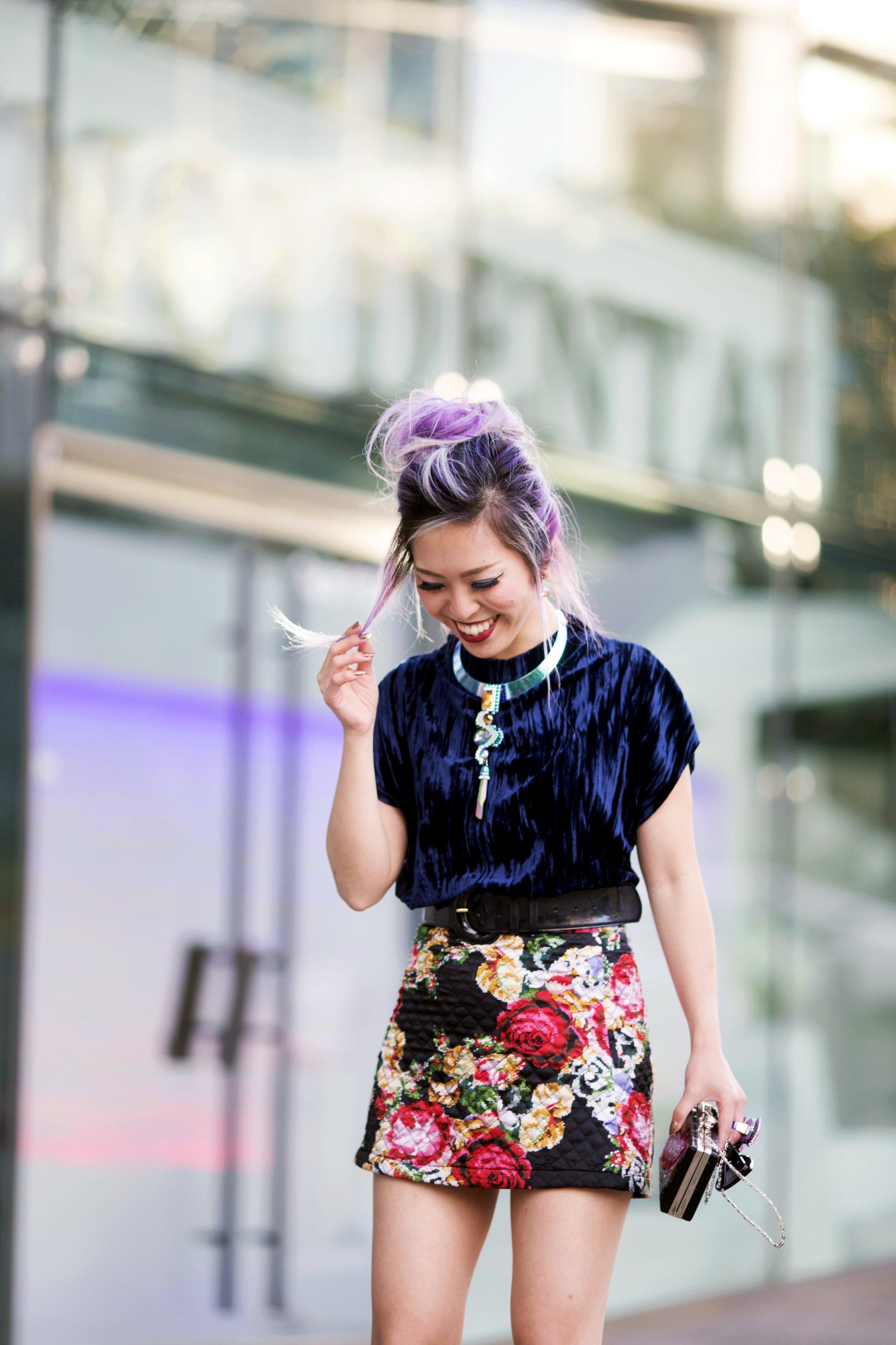 ZARA Blue Velvet Top_Forever 21 Floral Print Mini Skirt_Mango Patent Belt_Kate Spade Sheer Ankle Socks_Qupid Silver Pumps_Aldo Cateye Sunglasses_Swarovski Fluorescent Necklace & Fluorescent Ring_Aika's Love Closet_Seattle Fashion Blogger_Japanese_Lavender Hair_Mermaid Hair 11