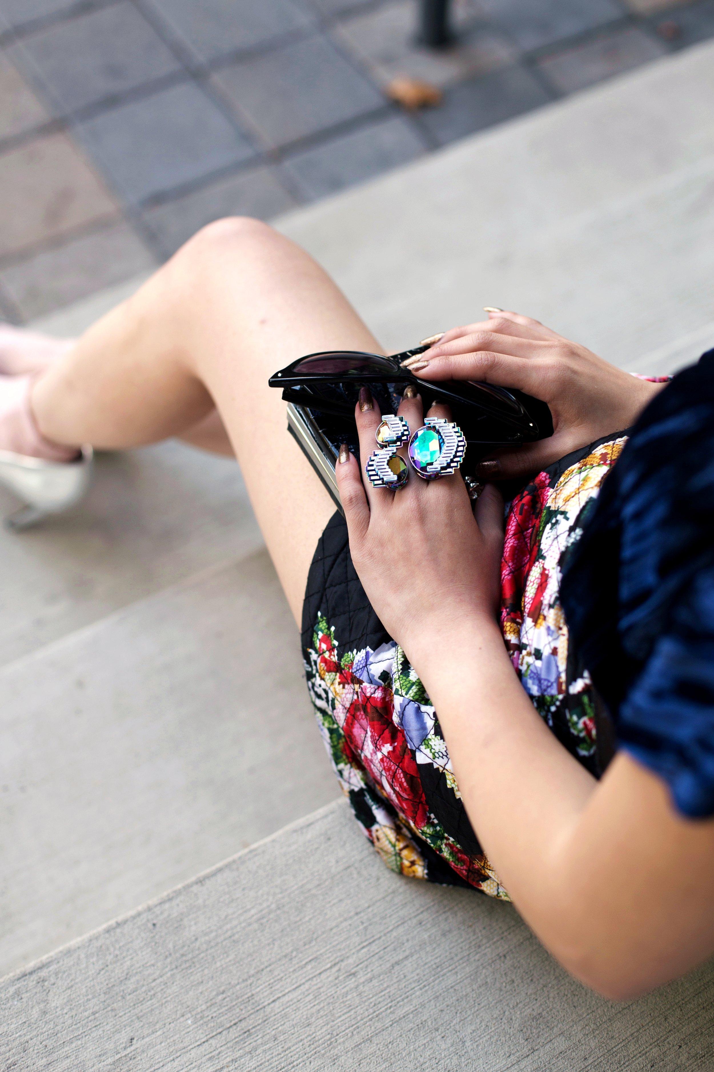 ZARA Blue Velvet Top_Forever 21 Floral Print Mini Skirt_Mango Patent Belt_Kate Spade Sheer Ankle Socks_Qupid Silver Pumps_Aldo Cateye Sunglasses_Swarovski Fluorescent Necklace & Fluorescent Ring_Aika's Love Closet_Seattle Fashion Blogger_Japanese_Lavender Hair_Mermaid Hair 12