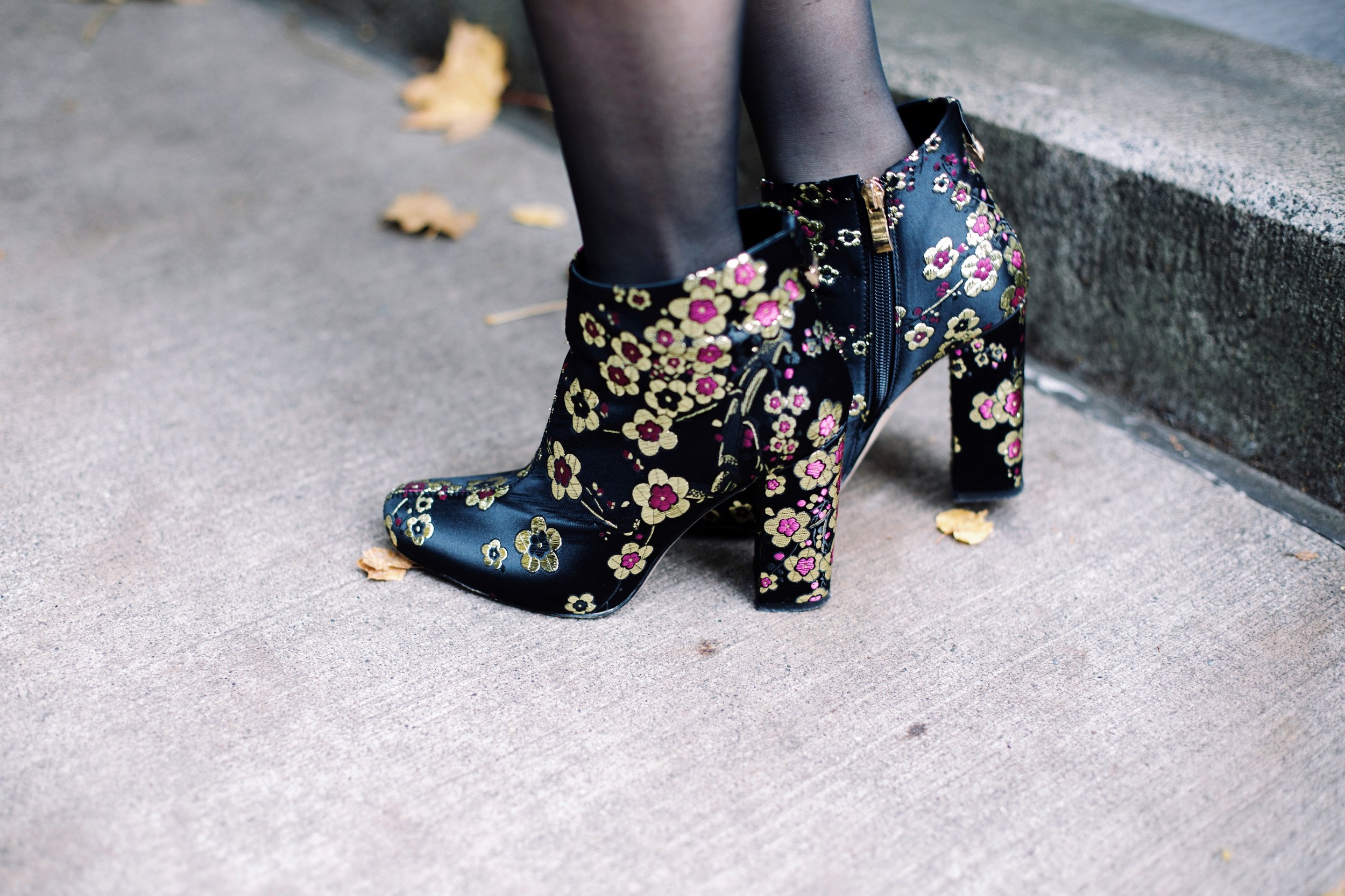 Ego Shona Gold/Purple Floral Print Ankle Boot-Aika's love Closet-Seattle Fashion Blogger-Japanese