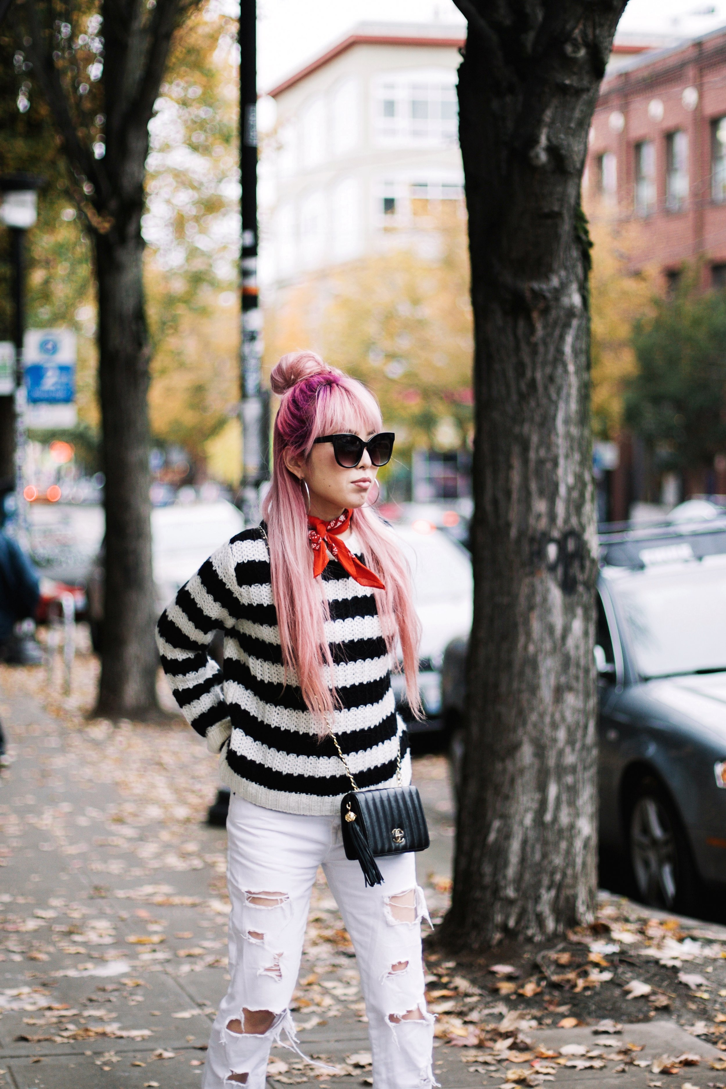 Urban Outfitters Sunglasses & Red bandana-Who What Wear Striped Crew Sweater-Target-Zara Distressed white boyfriend Jeans & Black Sheer Top-Vintage Chanel Crossbody Bag-ASOS Ankle Strap Sandals-Christian Paul Grid White Watch-Aika's Love Closet-Seattle Fashion Blogger-Japanese-Pink Hair-Half Top Knot Hair 2