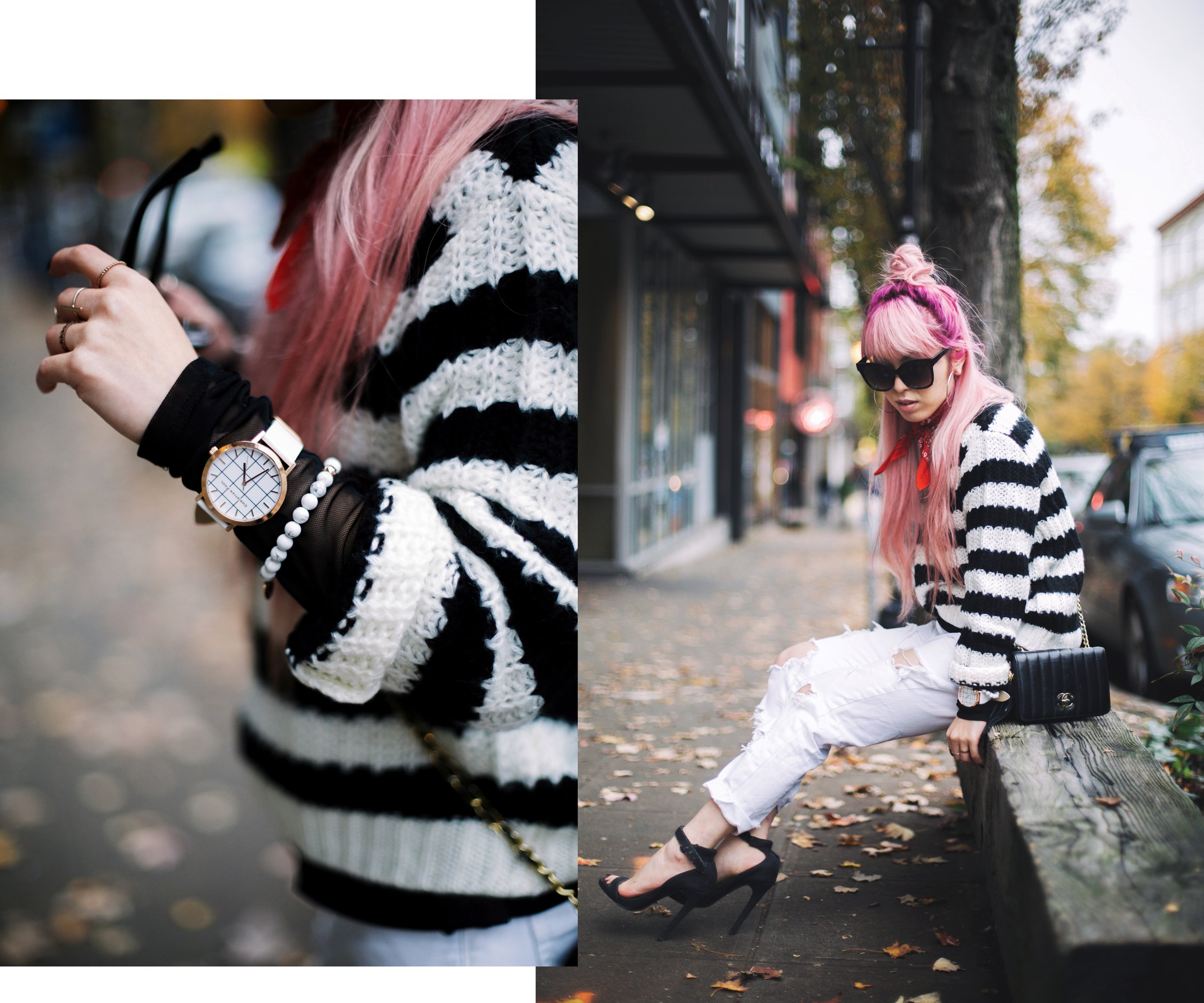 Urban Outfitters Sunglasses & Red bandana-Who What Wear Striped Crew Sweater-Target-Zara Distressed white boyfriend Jeans & Black Sheer Top-Vintage Chanel Crossbody Bag-ASOS Ankle Strap Sandals-Christian Paul Grid White Watch-Aika's Love Closet-Seattle Fashion Blogger-Japanese-Pink Hair-Half Top Knot Hair 5