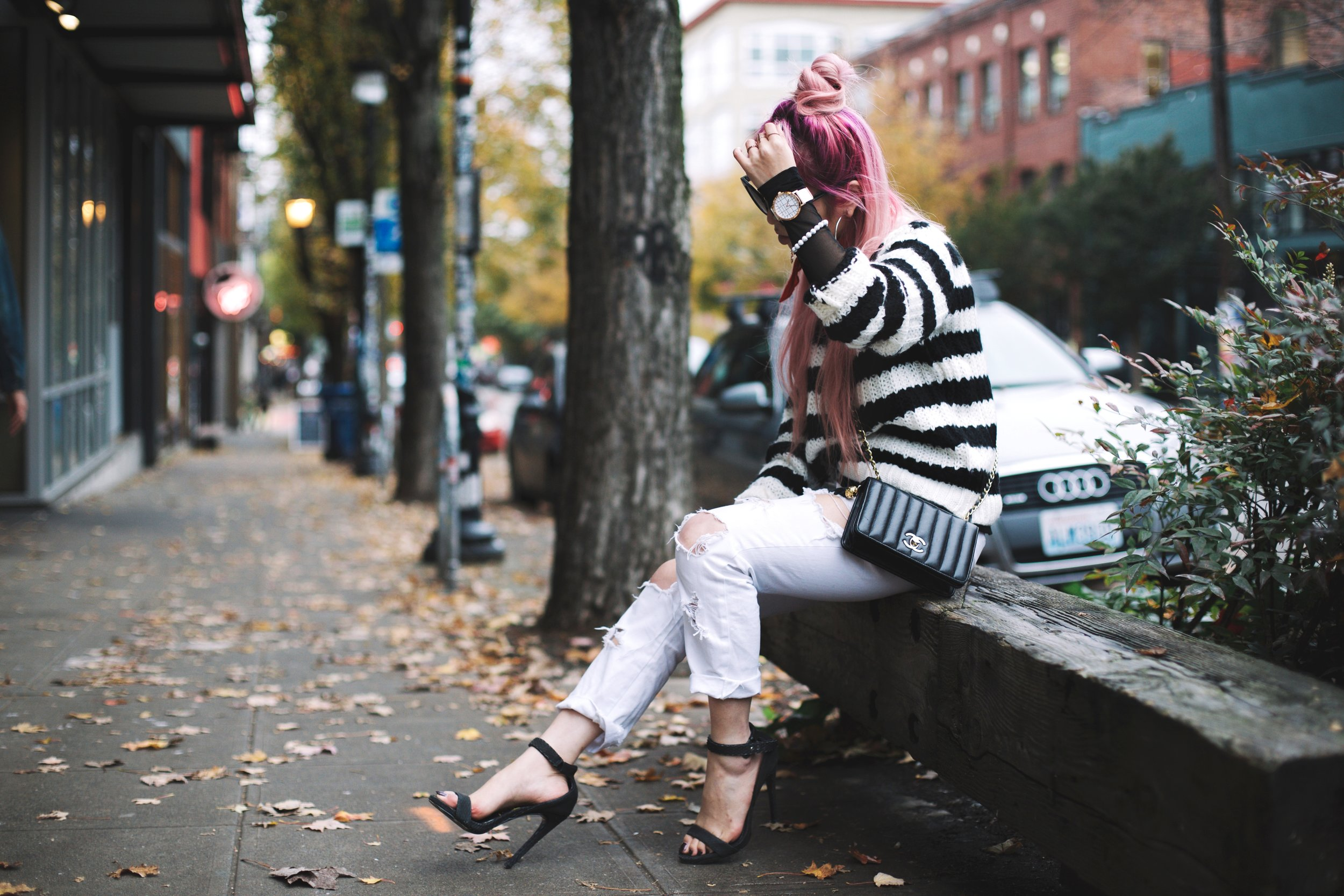 Urban Outfitters Sunglasses & Red bandana-Who What Wear Striped Crew Sweater-Target-Zara Distressed white boyfriend Jeans & Black Sheer Top-Vintage Chanel Crossbody Bag-ASOS Ankle Strap Sandals-Christian Paul Grid White Watch-Aika's Love Closet-Seattle Fashion Blogger-Japanese-Pink Hair-Half Top Knot Hair 7