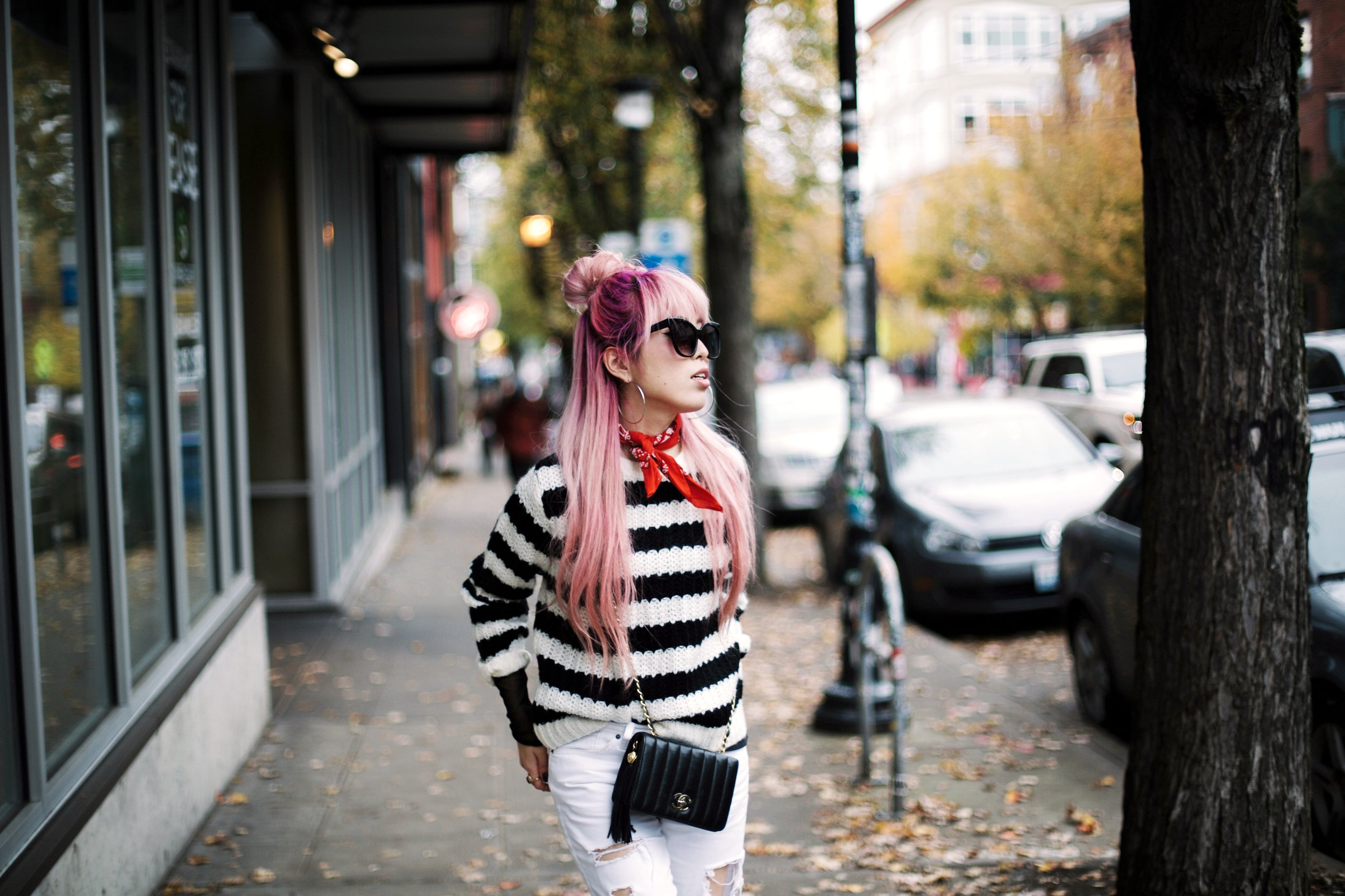 Urban Outfitters Sunglasses & Red bandana-Who What Wear Striped Crew Sweater-Target-Zara Distressed white boyfriend Jeans & Black Sheer Top-Vintage Chanel Crossbody Bag-ASOS Ankle Strap Sandals-Christian Paul Grid White Watch-Aika's Love Closet-Seattle Fashion Blogger-Japanese-Pink Hair-Half Top Knot Hair 17