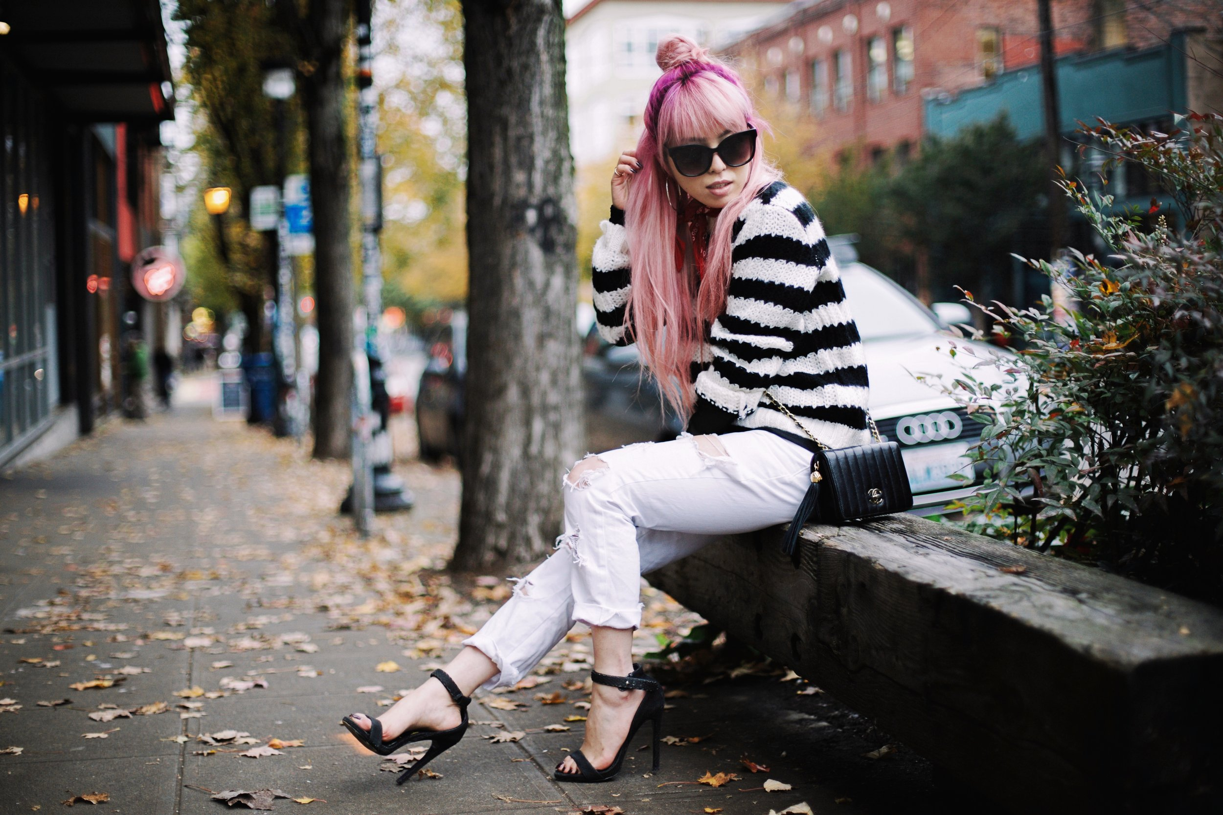 Urban Outfitters Sunglasses & Red bandana-Who What Wear Striped Crew Sweater-Target-Zara Distressed white boyfriend Jeans & Black Sheer Top-Vintage Chanel Crossbody Bag-ASOS Ankle Strap Sandals-Christian Paul Grid White Watch-Aika's Love Closet-Seattle Fashion Blogger-Japanese-Pink Hair-Half Top Knot Hair 19
