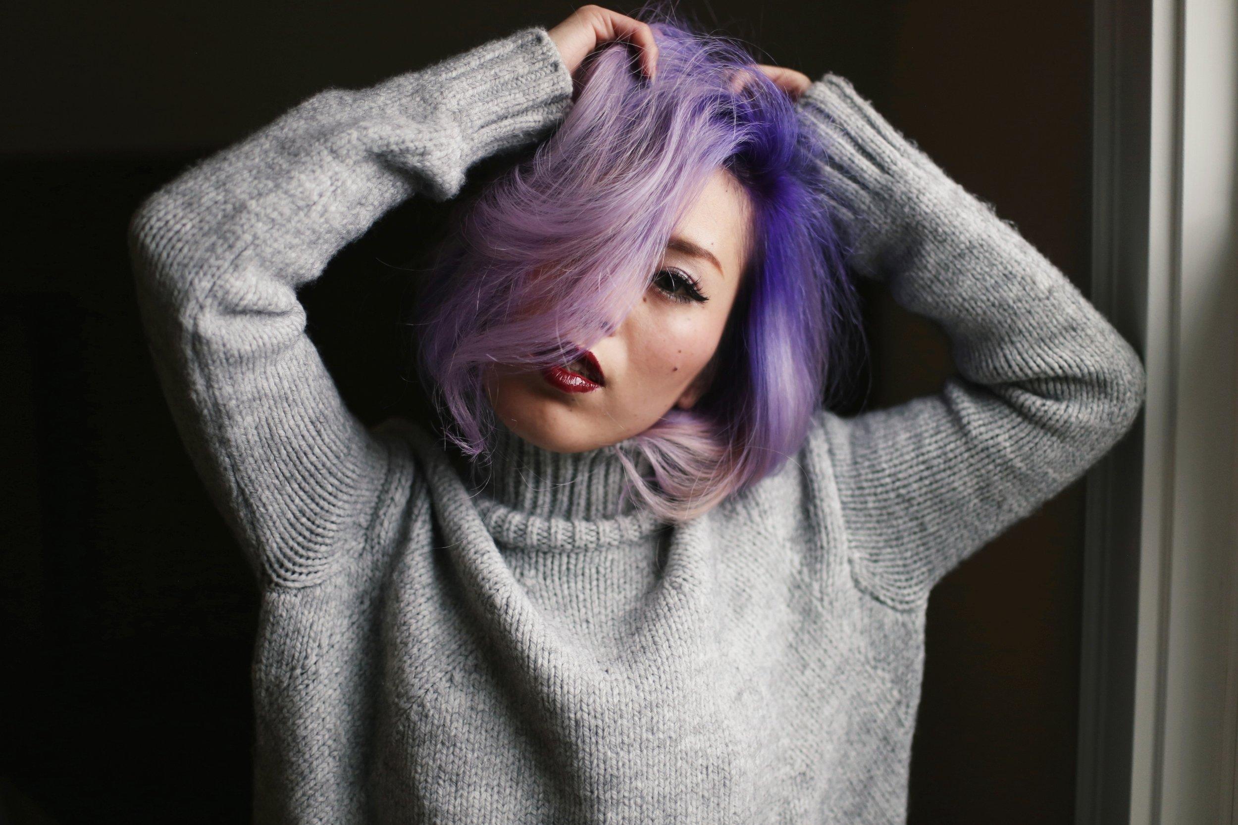 Boudoir Photo-black and white photography-sweater weather-turtle neck sweater-black lingerie-dark lipstick-japanese-Aika's Love Closet-Seattle model-Seattle Style blogger-Lavender Hair-colored Hair-Mermaid Hair-Zara Sweater 3