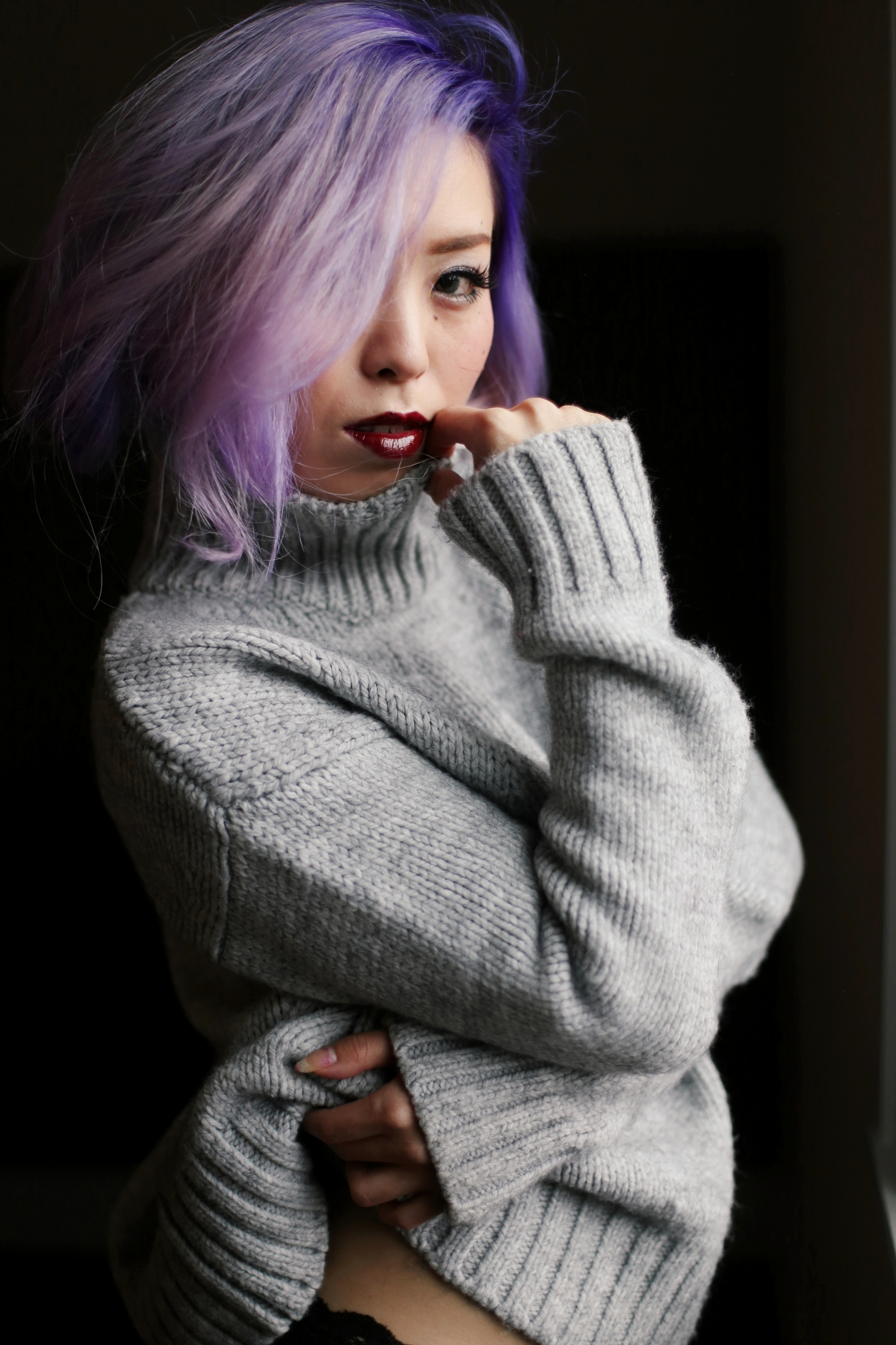 Boudoir Photo-black and white photography-sweater weather-turtle neck sweater-black lingerie-dark lipstick-japanese-Aika's Love Closet-Seattle model-Seattle Style blogger-Lavender Hair-colored Hair-Mermaid Hair-Zara Sweater 4