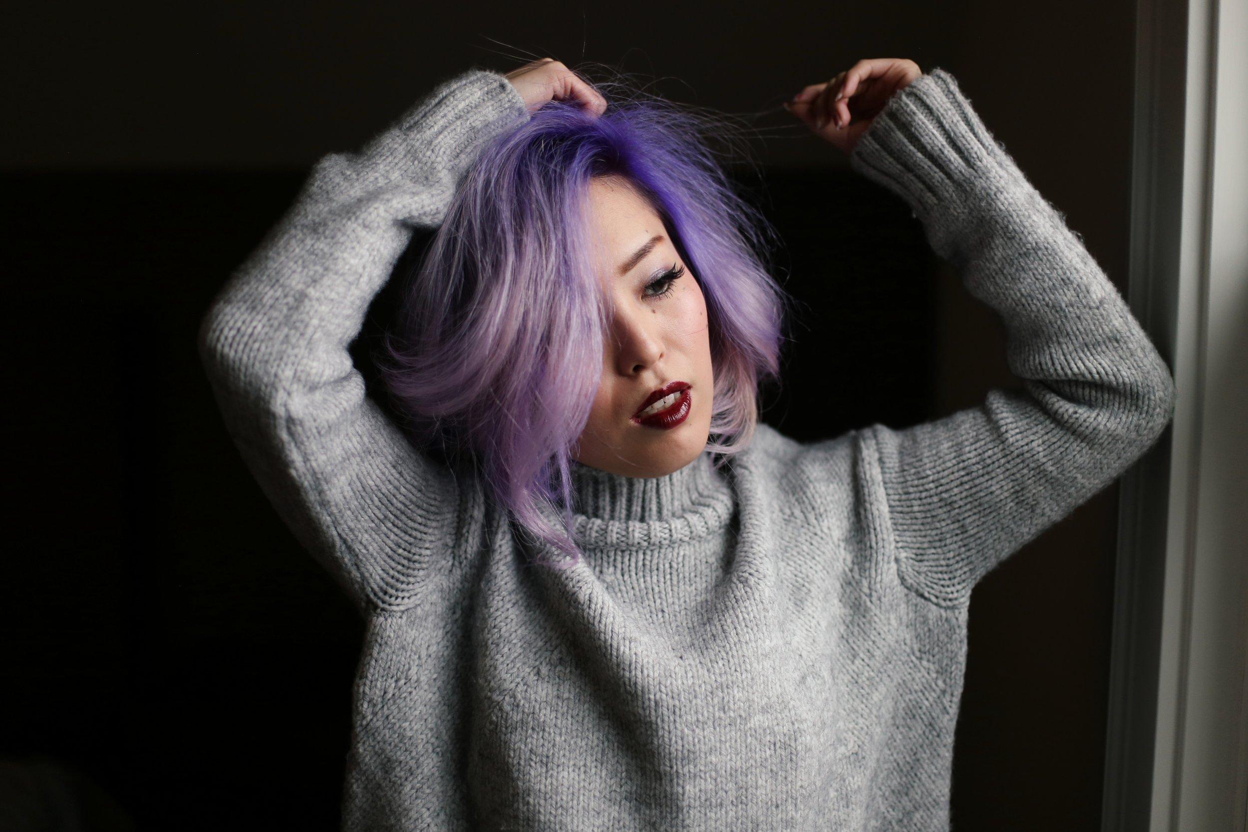 Boudoir Photo-black and white photography-sweater weather-turtle neck sweater-black lingerie-dark lipstick-japanese-Aika's Love Closet-Seattle model-Seattle Style blogger-Lavender Hair-colored Hair-Mermaid Hair-Zara Sweater 6