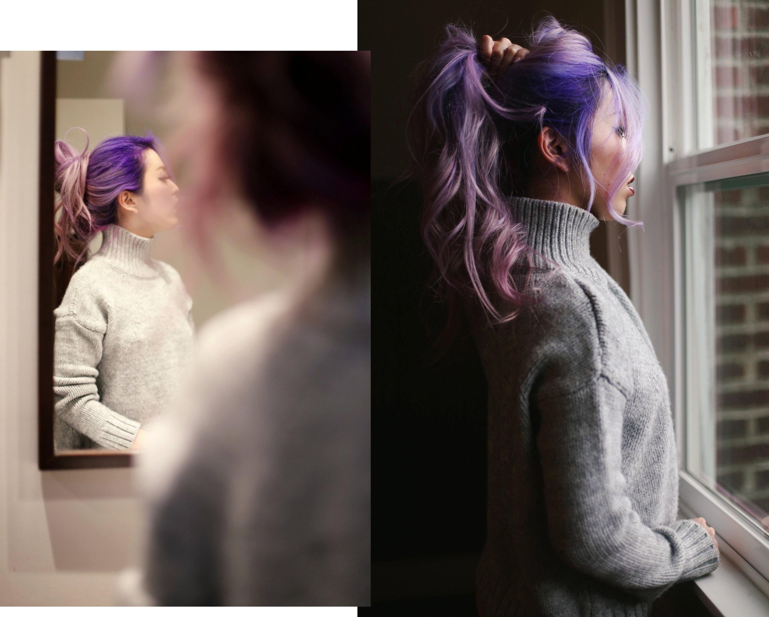Boudoir Photo-black and white photography-sweater weather-turtle neck sweater-black lingerie-dark lipstick-japanese-Aika's Love Closet-Seattle model-Seattle Style blogger-Lavender Hair-colored Hair-Mermaid Hair-Zara Sweater 7