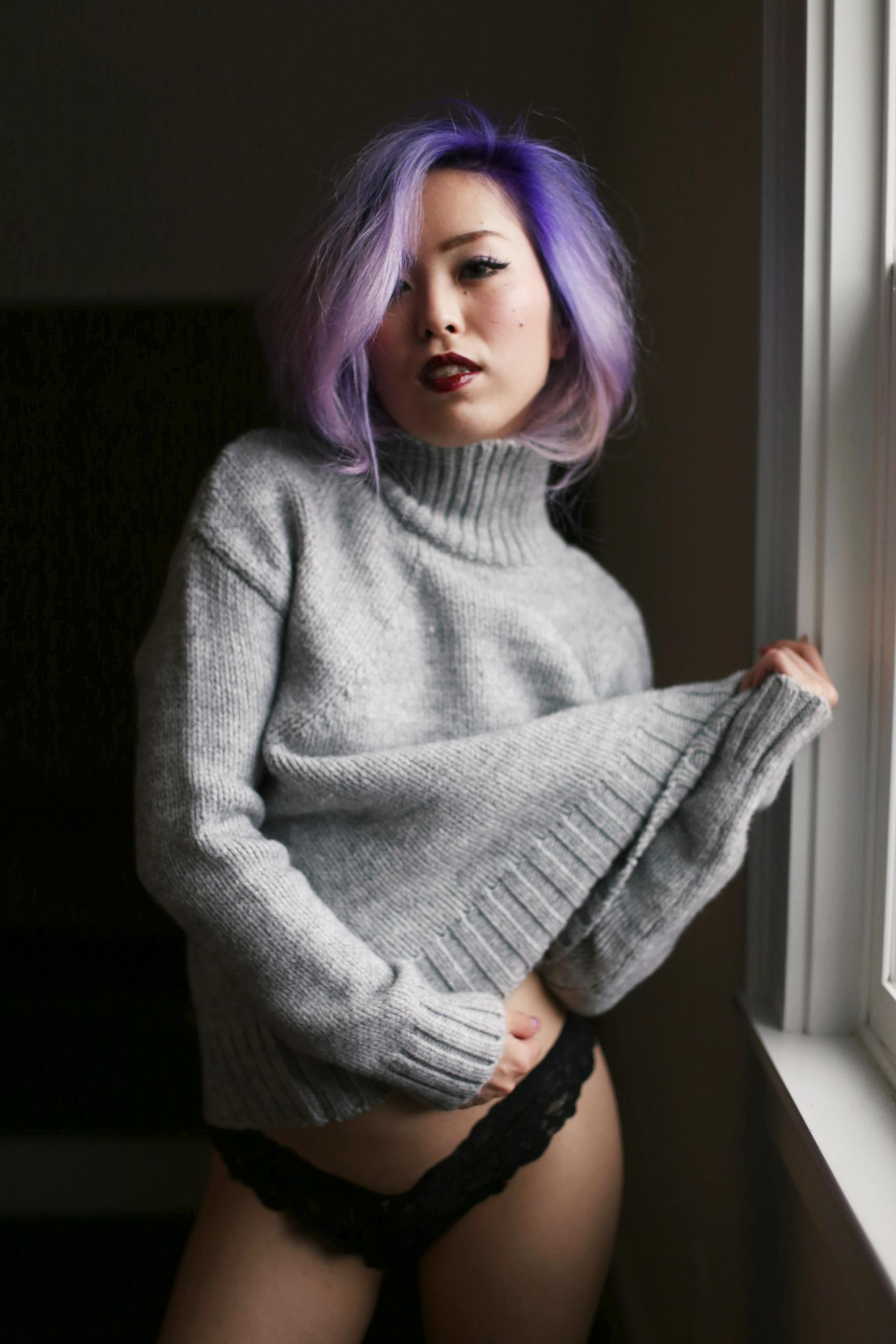 Boudoir Photo-black and white photography-sweater weather-turtle neck sweater-black lingerie-dark lipstick-japanese-Aika's Love Closet-Seattle model-Seattle Style blogger-Lavender Hair-colored Hair-Mermaid Hair-Zara Sweater 11