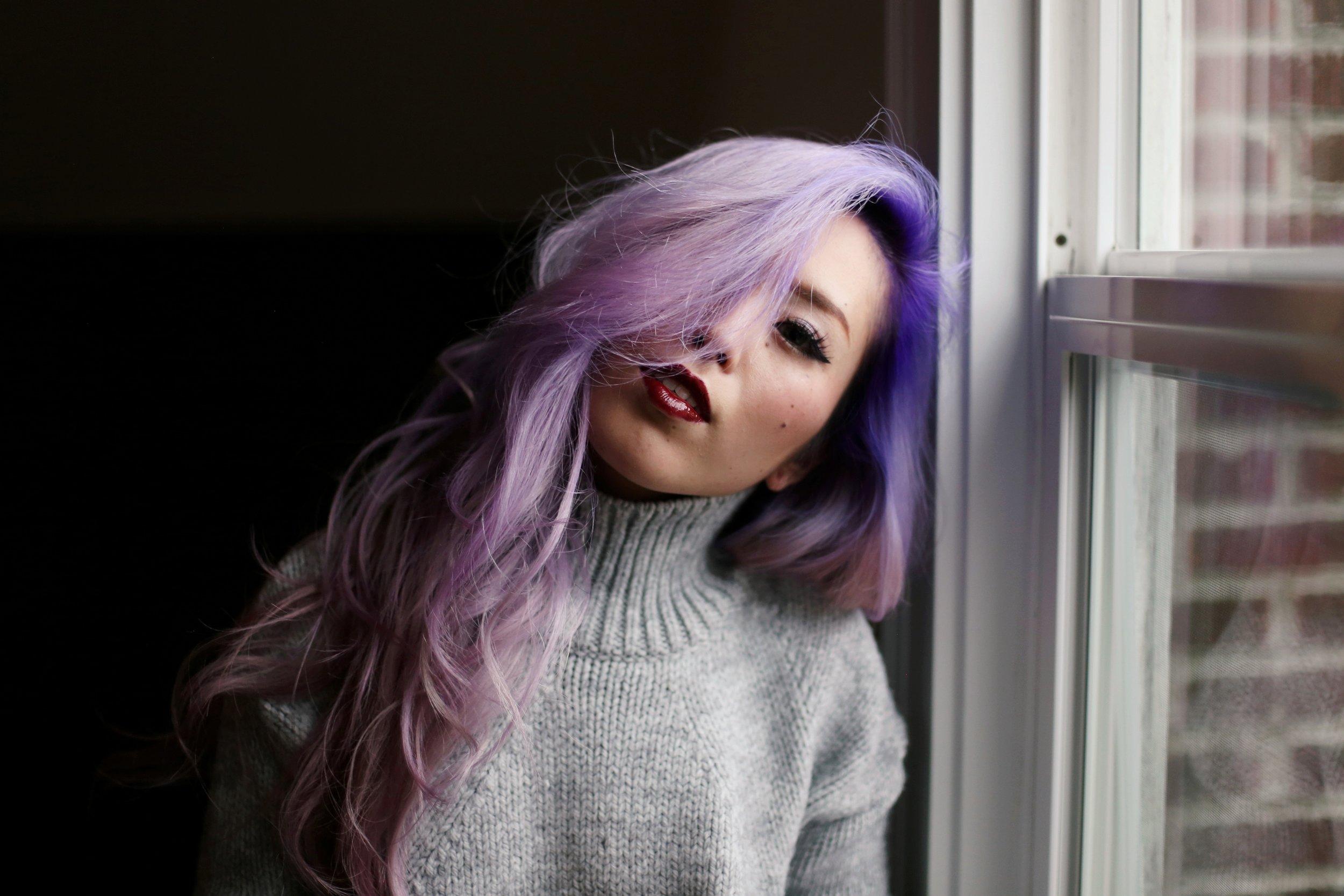 Boudoir Photo-black and white photography-sweater weather-turtle neck sweater-black lingerie-dark lipstick-japanese-Aika's Love Closet-Seattle model-Seattle Style blogger-Lavender Hair-colored Hair-Mermaid Hair-Zara Sweater 13