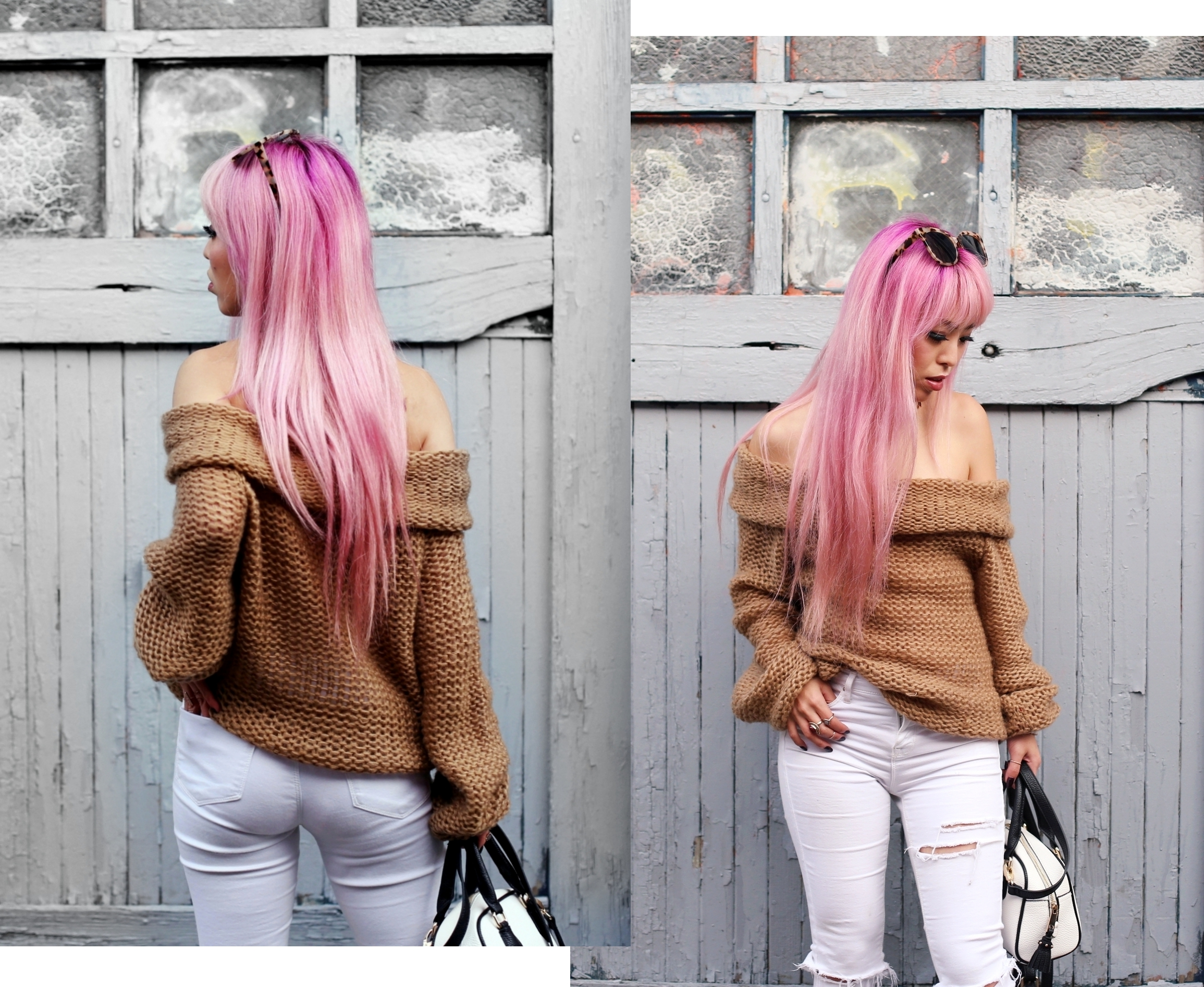 Urban Outfitters Sunglasses_Camel Off The Shoulder Sweater_TOPSHOP white jeans_ZARA Bag_ASOS Snake Skin Heels_Shop Dixi Lace Choker_Aika's Love Closet_Seattle Fashion Blogger_Japanese_Pink Hair_Colored Hair 5