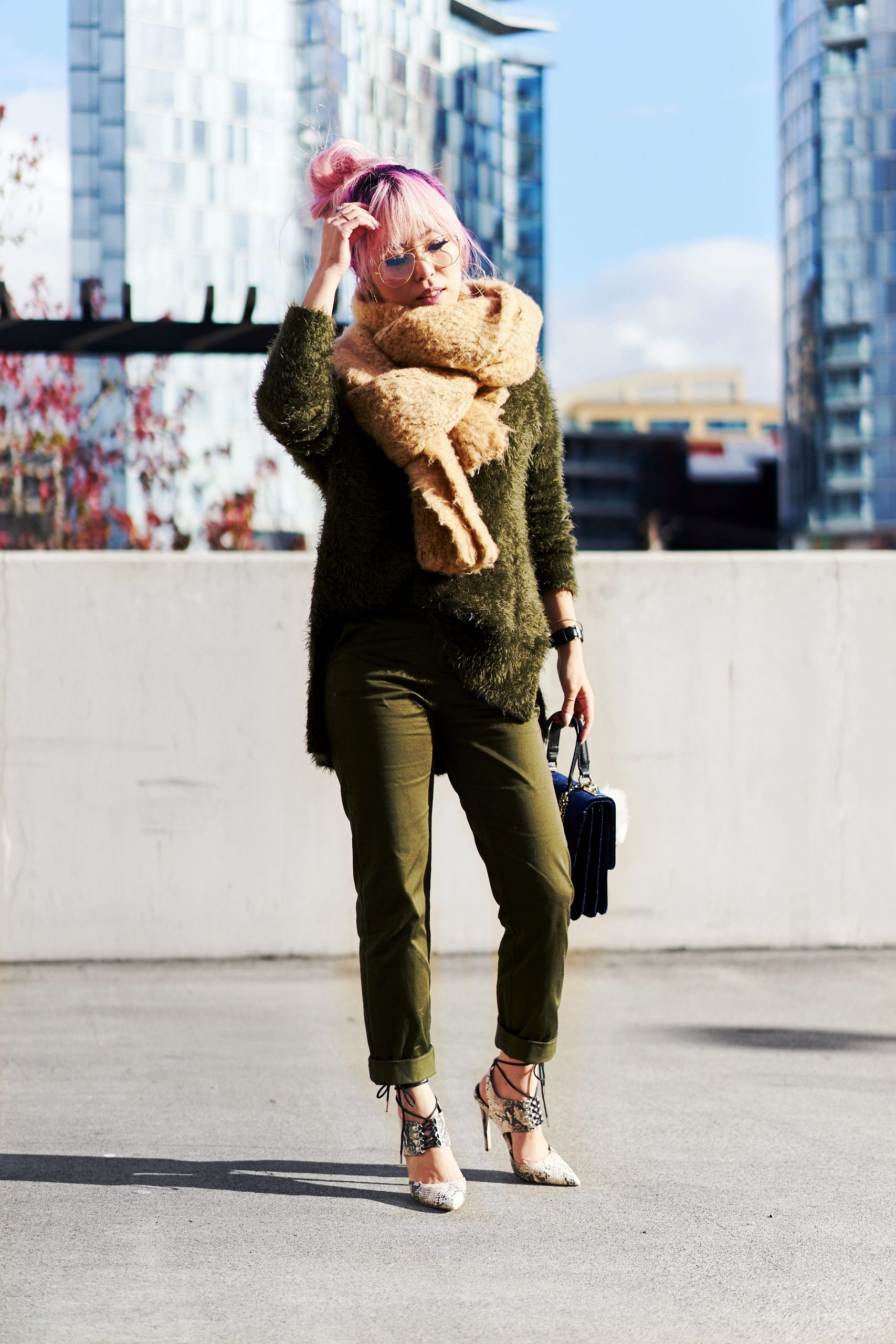 ASOS Oversized Scarf-H&M olive chunky sweater-H&M cropped trousers-ASOS python lace-up pumps-ZARA navy velvet bag-mango earrings-Daniel Wellington Watch-Clear Lens aviator-Aika's Love Closet-Seattle Style blogger-japanese-pink hair-colored hair 3