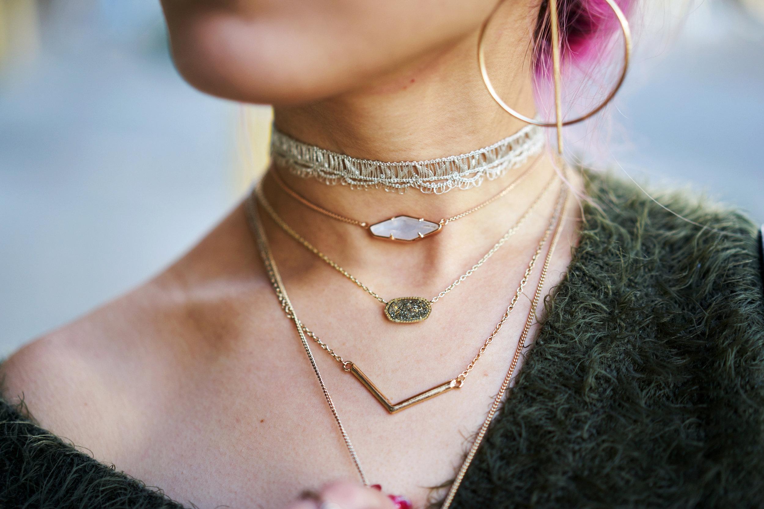 No Weekends Lace Choker-Kendra Scott kendra scott beth necklace & Elisa Pendant Necklace-Mango Earrings_Aika's Love Closet-Seattle Style Blogger-Japanese 3