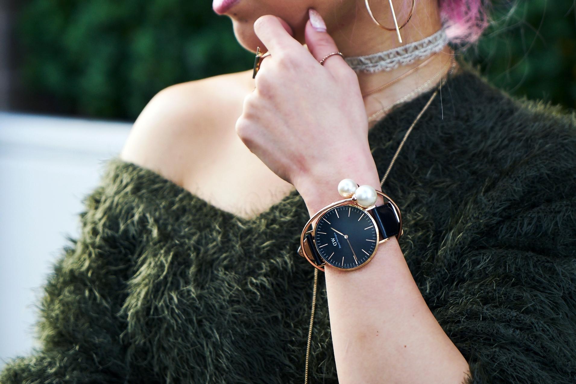 H&M olive chunky sweater-Daniel Wellington Watch-Aika's Love Closet-Seattle Style blogger-japanese