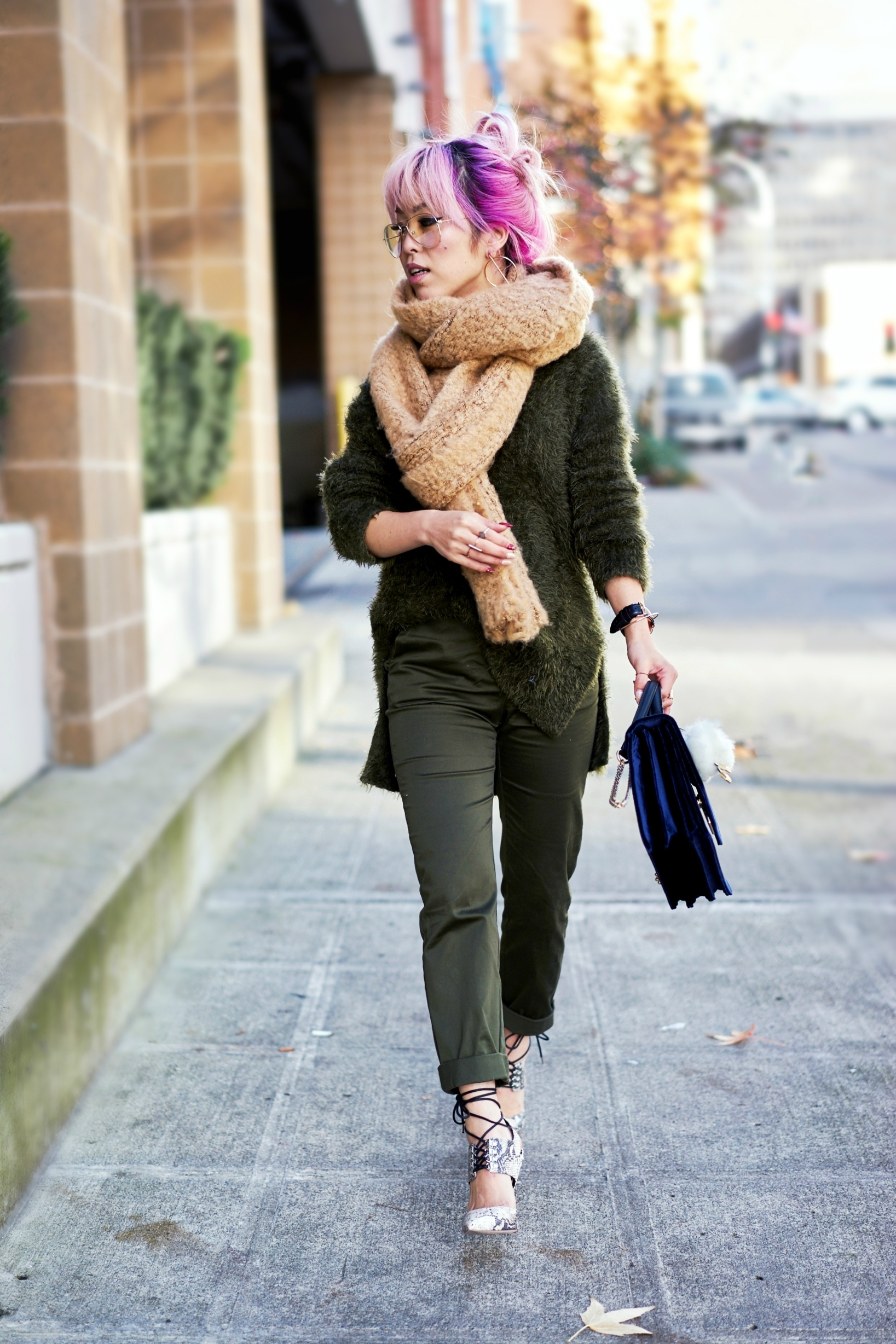 ASOS Oversized Scarf-H&M olive chunky sweater-H&M cropped trousers-ASOS python lace-up pumps-ZARA navy velvet bag-mango earrings-Daniel Wellington Watch-Clear Lens aviator-Aika's Love Closet-Seattle Style blogger-japanese-pink hair-colored hair