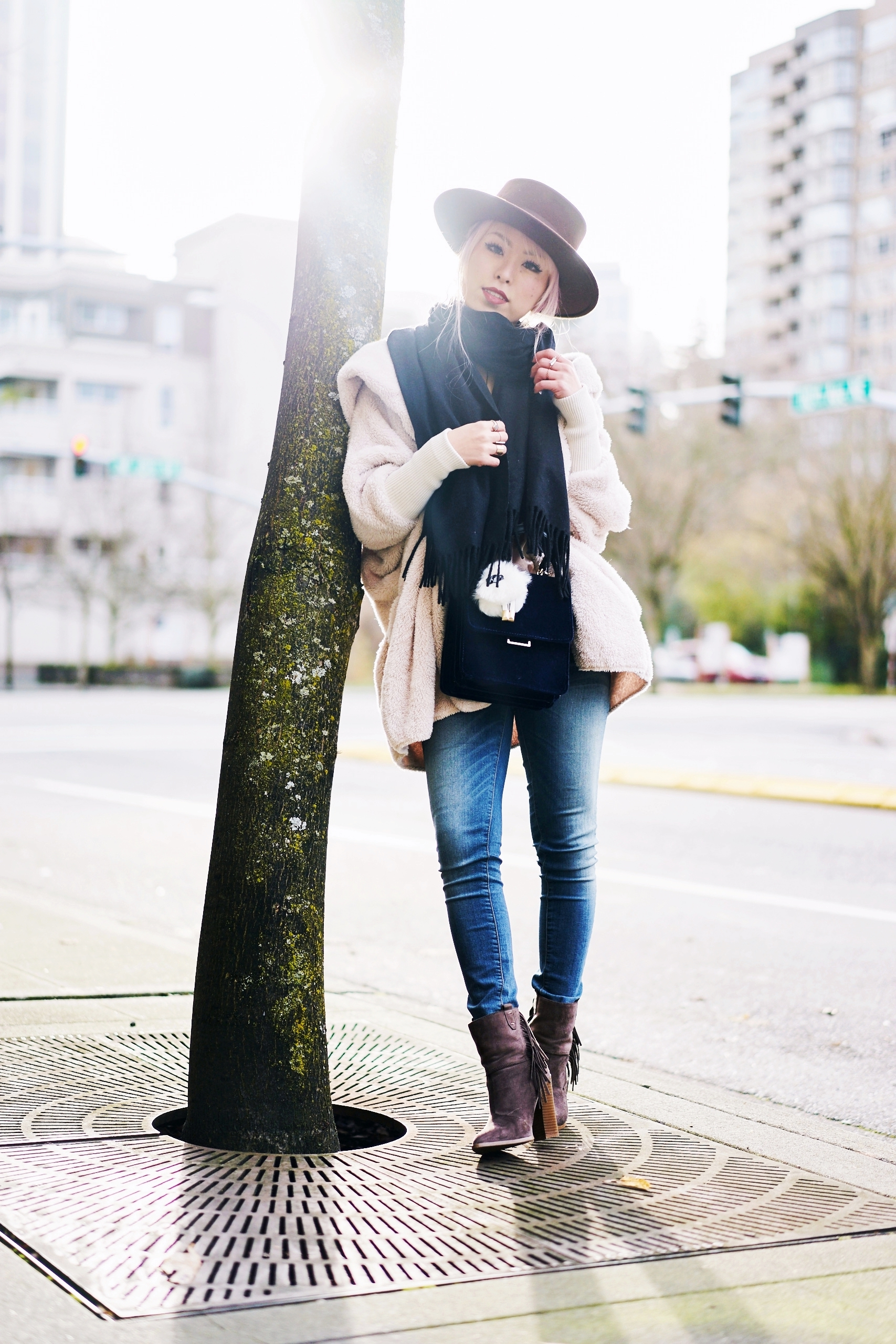 She In Apricot Hooded Long Sleeve Loose Cardigan-Acne Studios Canada wool Scarf black-zara velvet crossbody bag-hudson jeans skinny jeans-lack of color the coco boater-Justfab KAIYA booties-Aika's love closet-Seattle fashion style blogger-japanese-pink hair