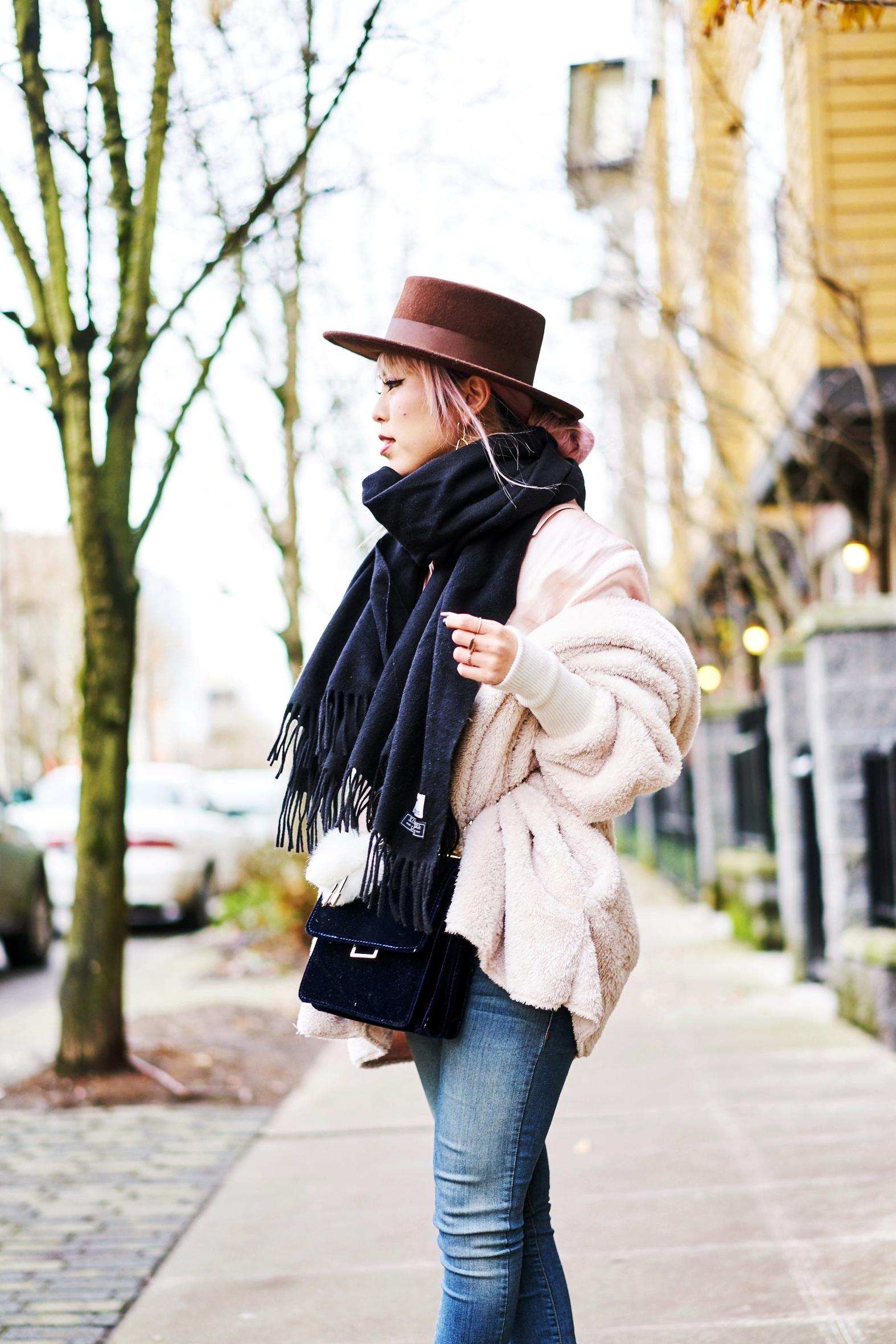 Zara blush satin shirt- She In Apricot Hooded Long Sleeve Loose Cardigan-Acne Studios Canada wool Scarf black-zara velvet crossbody bag-hudson jeans skinny jeans-lack of color the coco boater-Justfab KAIYA booties-Aika's love closet-Seattle fashion style blogger-japanese-pink hair