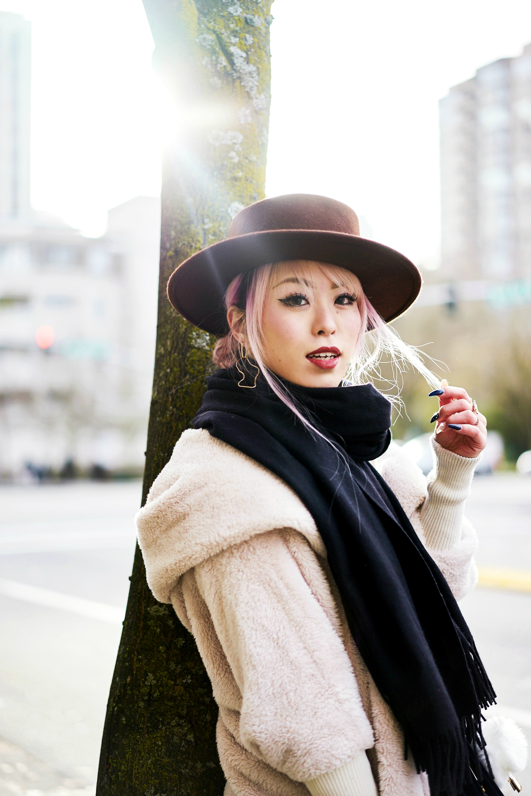 She In Apricot Hooded Long Sleeve Loose Cardigan-Acne Studios Canada wool Scarf black-lack of color the coco boater--Aika's love closet-Seattle fashion style blogger-japanese-pink hair