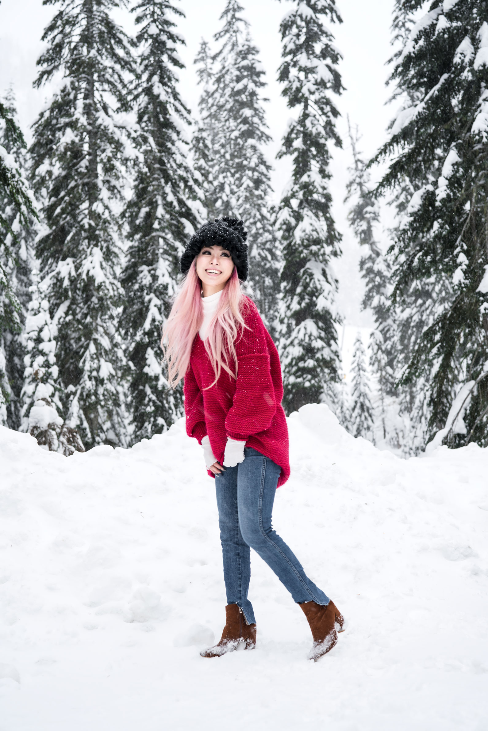 Free people All Mine Sweater, Free People Modern Cuff Layering Top, Free People Ace High Rise Jeans, Free People Bobbi Chunky Pom Beanie, EGO Ankle Boots, Aika's Love Closet, Seattle Fashion Blogger from Japan, Pink Hair 2