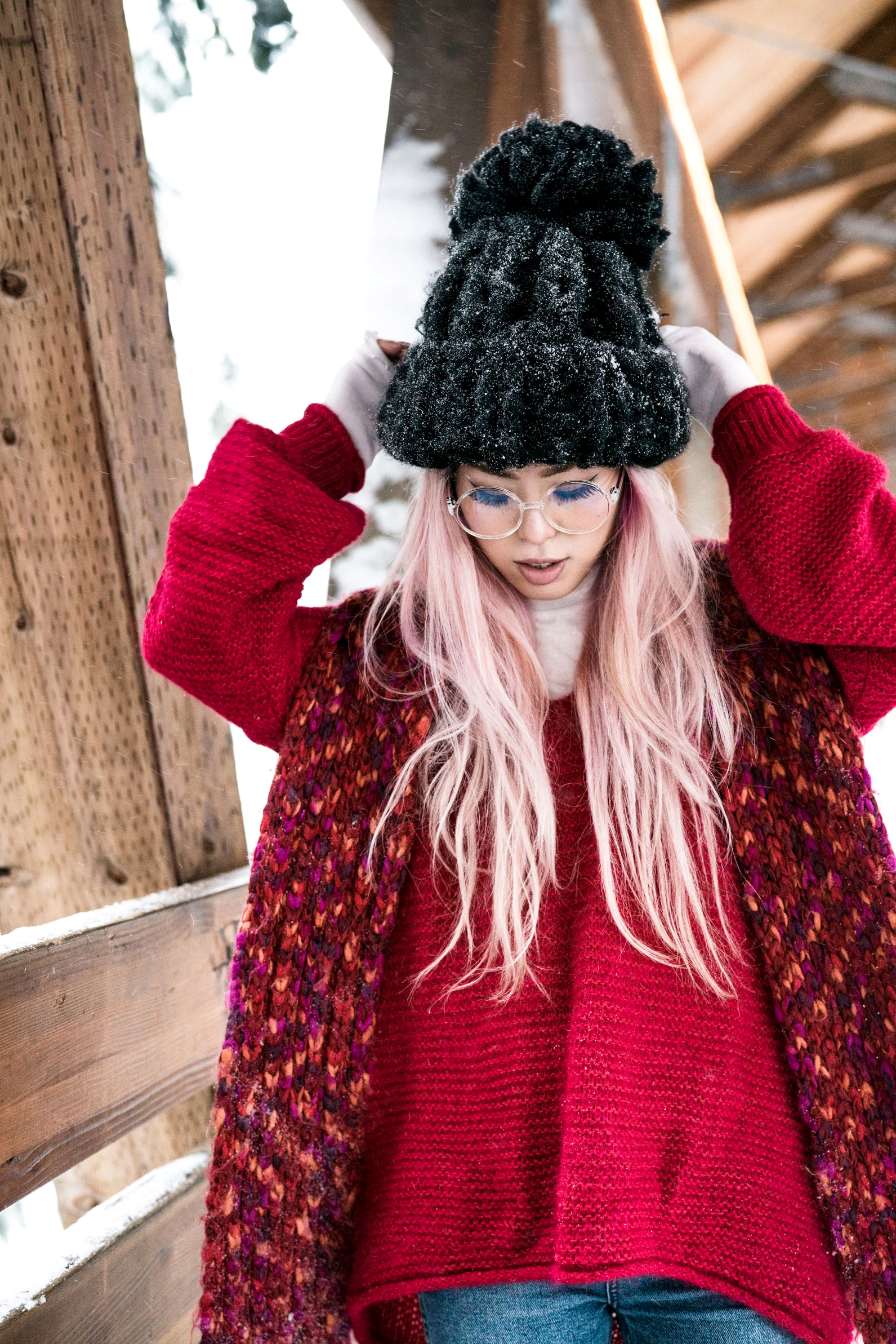 H&M Multi Colored Scarf, Transparent Clear Lens Glasses, Free people All Mine Sweater, Free People Modern Cuff Layering Top, Free People Ace High Rise Jeans, Free People Bobbi Chunky Pom Beanie, EGO Ankle Boots, Aika's Love Closet, Seattle Fashion Blogger from Japan, Pink Hair