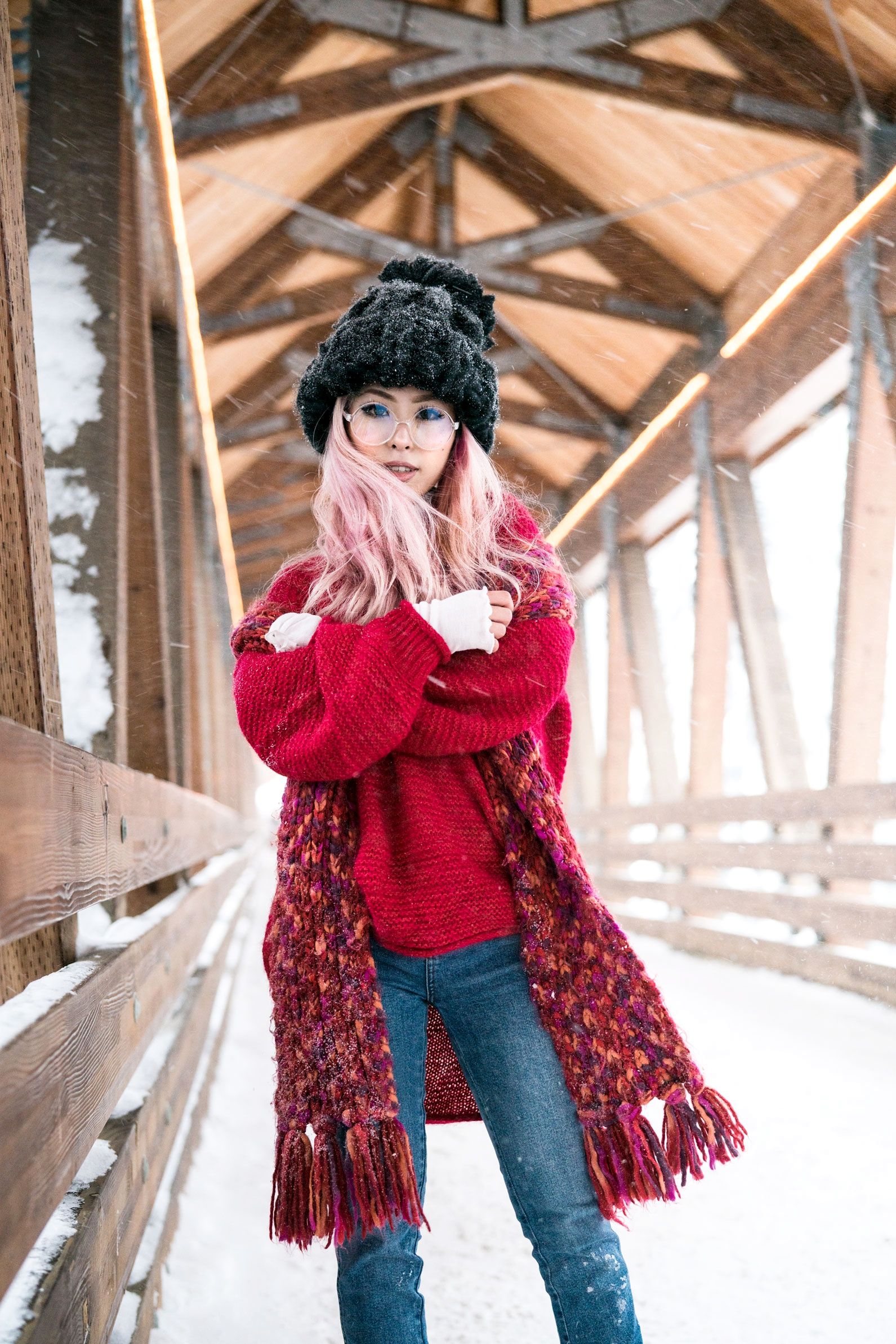 H&M Multi Colored Scarf, Transparent Clear Lens Glasses, Free people All Mine Sweater, Free People Modern Cuff Layering Top, Free People Ace High Rise Jeans, Free People Bobbi Chunky Pom Beanie, EGO Ankle Boots, Aika's Love Closet, Seattle Fashion Blogger from Japan, Pink Hair 4