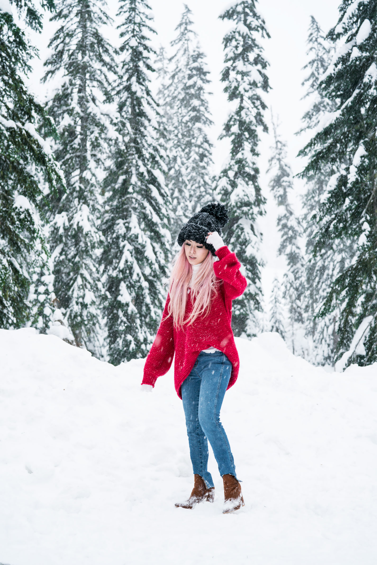 H&M Multi Colored Scarf, Transparent Clear Lens Glasses, Free people All Mine Sweater, Free People Modern Cuff Layering Top, Free People Ace High Rise Jeans, Free People Bobbi Chunky Pom Beanie, EGO Ankle Boots, Aika's Love Closet, Seattle Fashion Blogger from Japan, Pink Hair 9