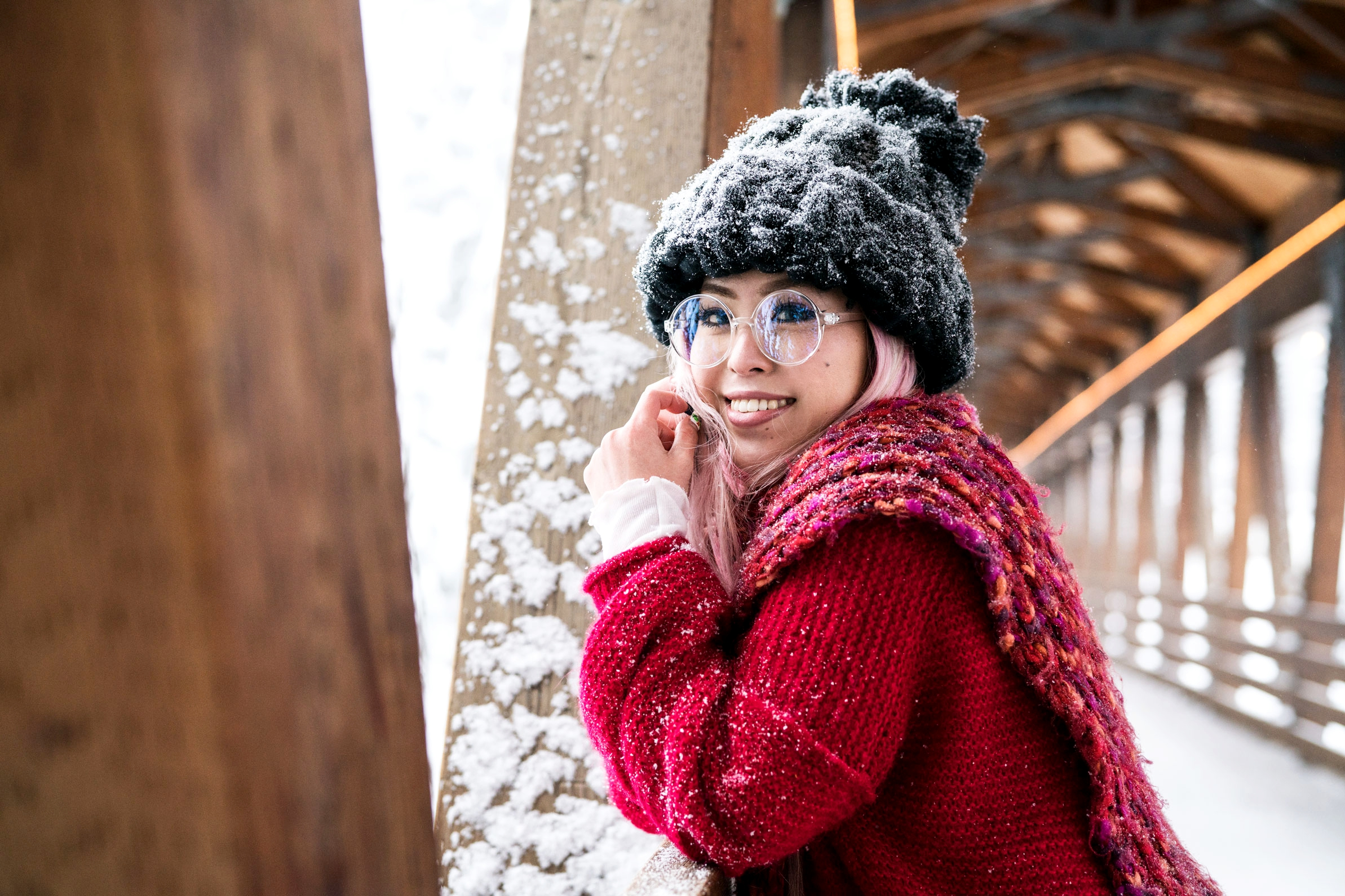 H&M Multi Colored Scarf, Transparent Clear Lens Glasses, Free people All Mine Sweater, Free People Modern Cuff Layering Top, Free People Ace High Rise Jeans, Free People Bobbi Chunky Pom Beanie, EGO Ankle Boots, Aika's Love Closet, Seattle Fashion Blogger from Japan, Pink Hair 12