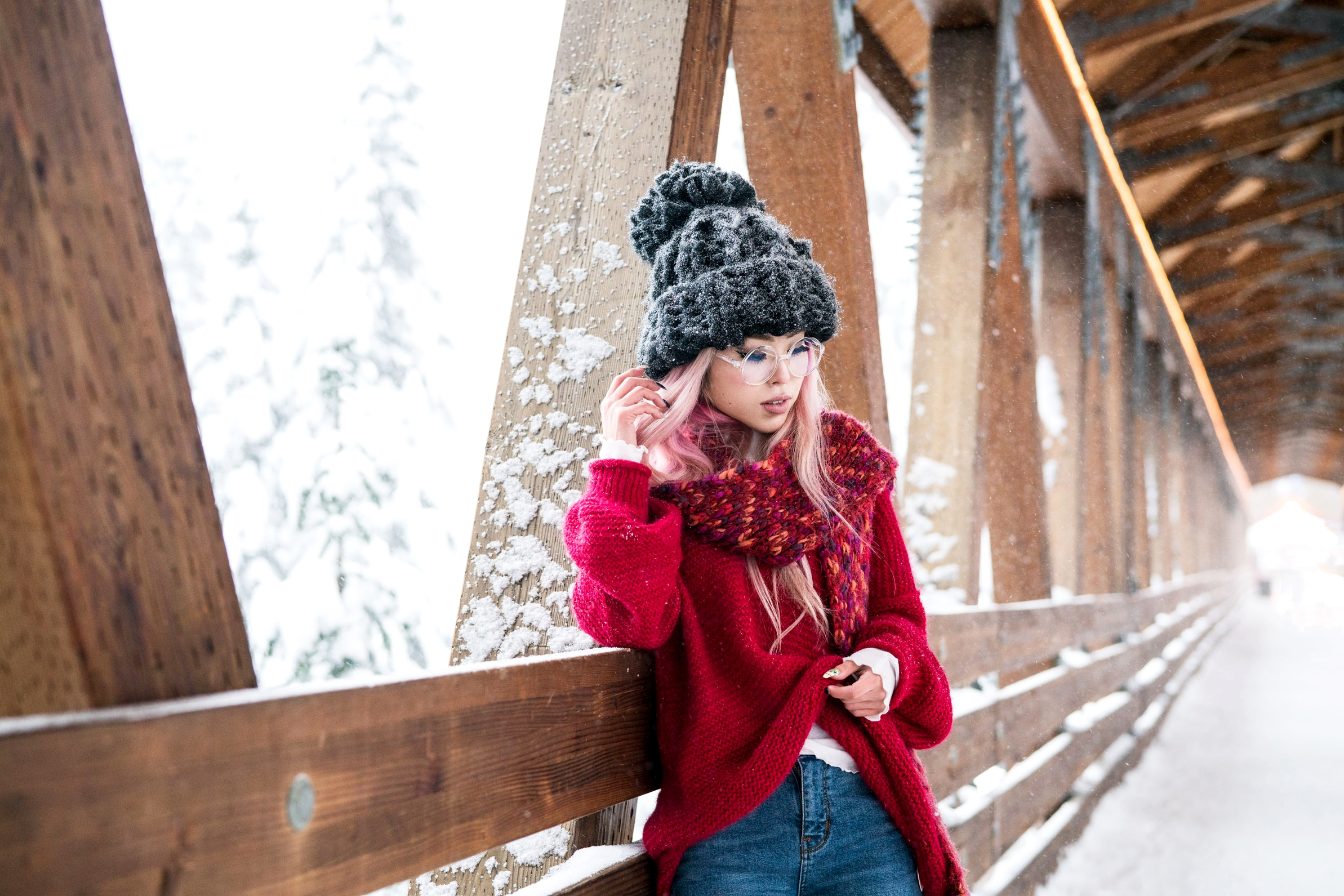 H&M Multi Colored Scarf, Transparent Clear Lens Glasses, Free people All Mine Sweater, Free People Modern Cuff Layering Top, Free People Ace High Rise Jeans, Free People Bobbi Chunky Pom Beanie, EGO Ankle Boots, Aika's Love Closet, Seattle Fashion Blogger from Japan, Pink Hair 13