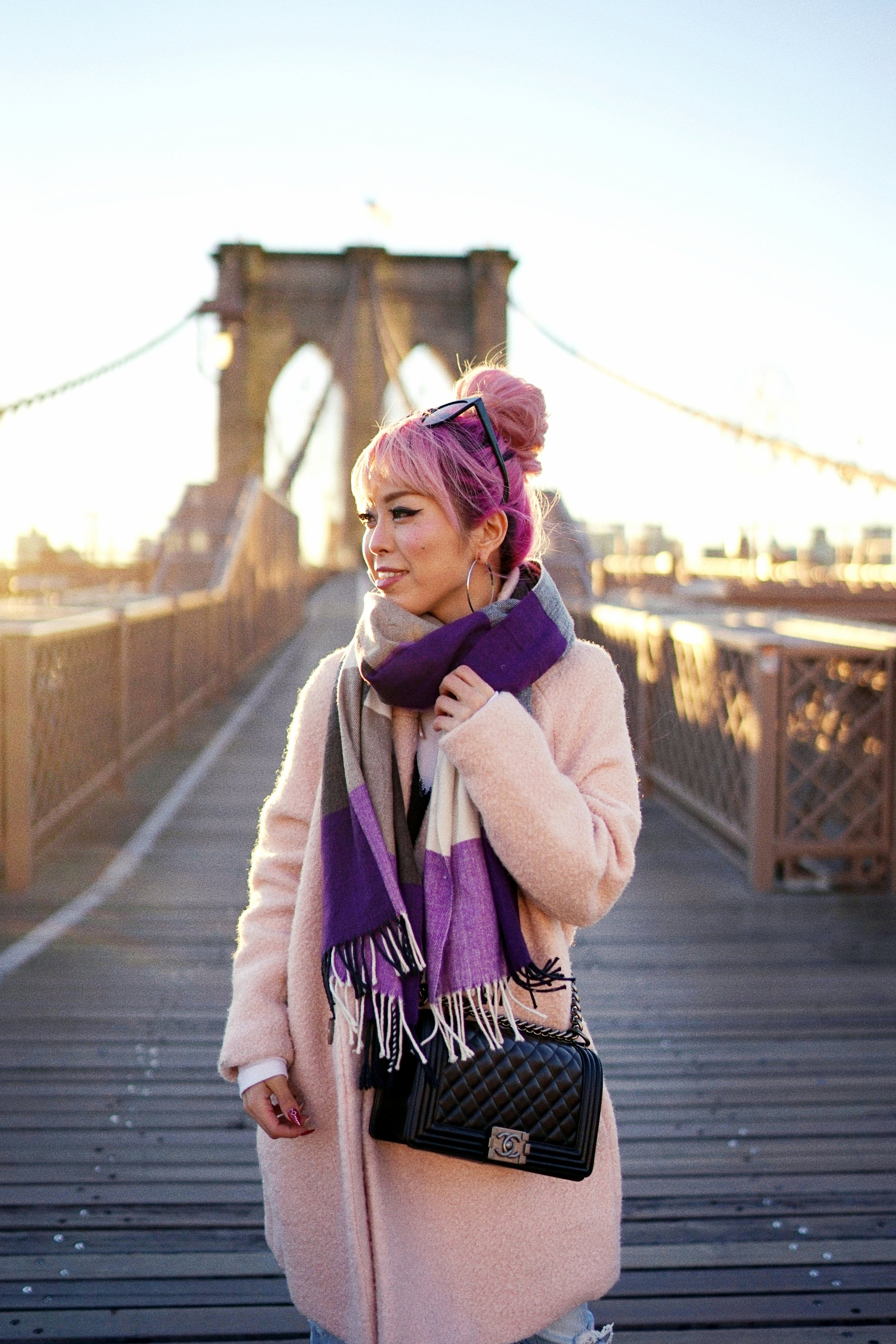 GAP Scarf-Zara pink coat-MOUSSY- frayed hem jeans- CHANEL Lambskin Quilted Medium Boy Flap Black-Adidas Superstar Shoes-Urban Outfitters Sunglasses-Aika's Love Closet-Sealtle fashion style blogger from japan-pink hair-brooklyn bridge-new york-city 5