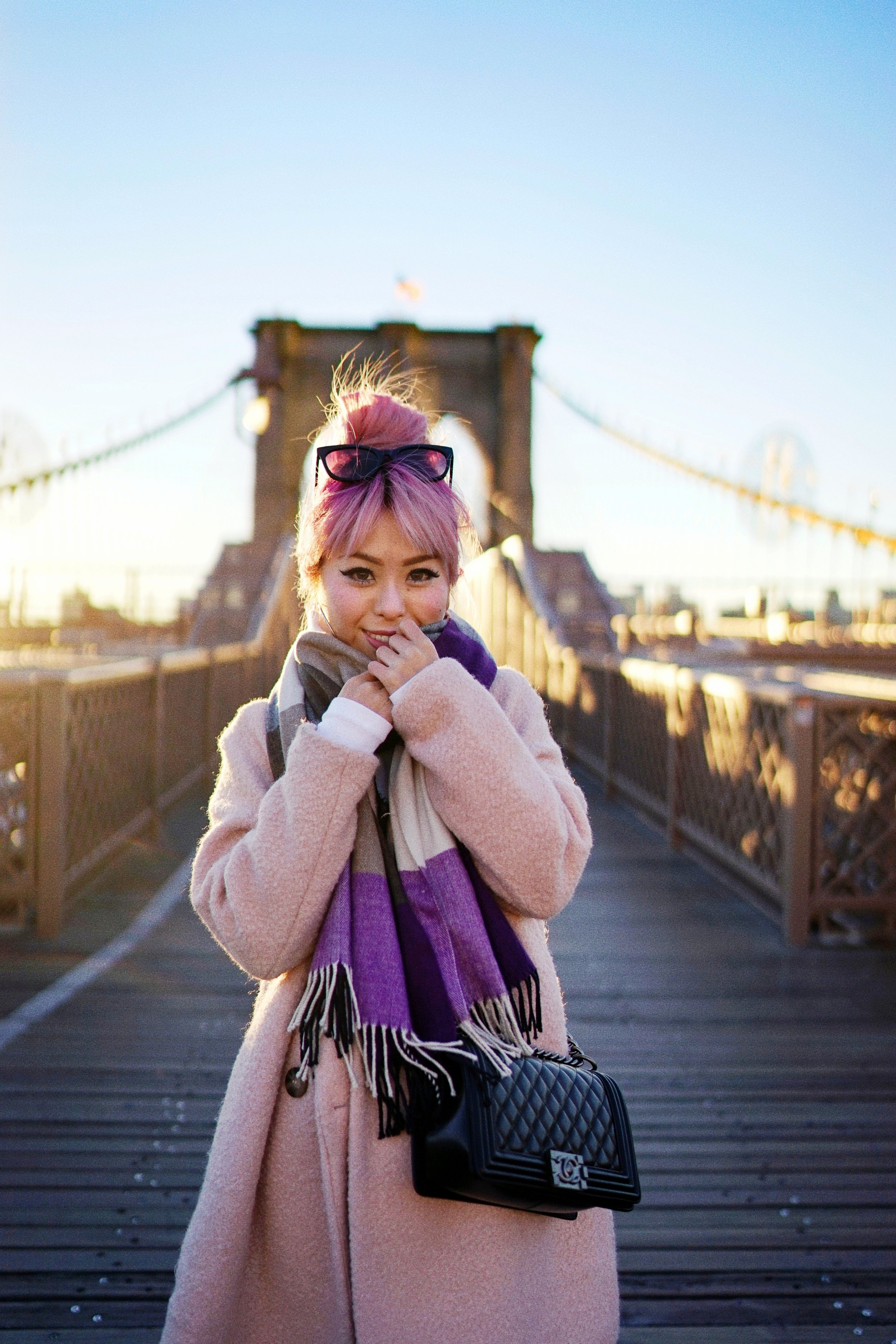 GAP Scarf-Zara pink coat-MOUSSY- frayed hem jeans- CHANEL Lambskin Quilted Medium Boy Flap Black-Adidas Superstar Shoes-Urban Outfitters Sunglasses-Aika's Love Closet-Sealtle fashion style blogger from japan-pink hair-brooklyn bridge-new york-city 6
